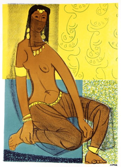 Seated Woman in Veil <br>1940-50s Stone Lithograph <br><br>#40472
