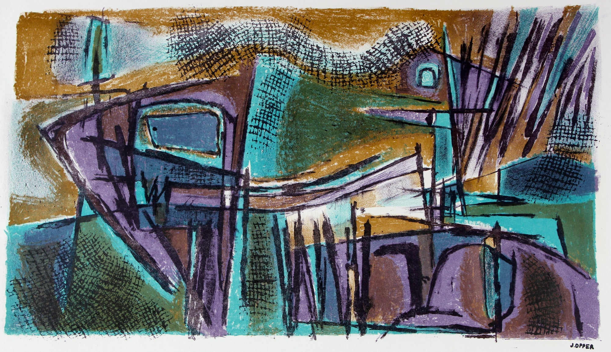 Jewel-Toned Modernist Abstract<br>1940-50s Stone Lithograph<br><br>#40691