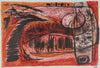 Fiery Modernist Abstract<br>1940-50s Stone Lithograph<br><br>#40692