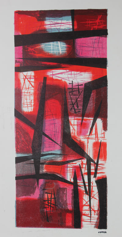 Bold & Graphic Red Forms<br>1940-50s Stone Lithograph<br><br>#40715