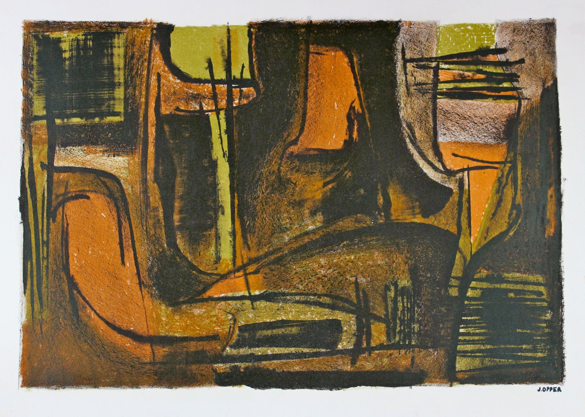 Suede Abstract Scene <br>1940-50s Lithograph <br><br>#40719