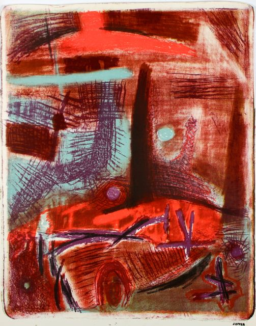 Bright Red Modernist Abstract <br>1940-50s Stone Lithograph <br><br>#40723