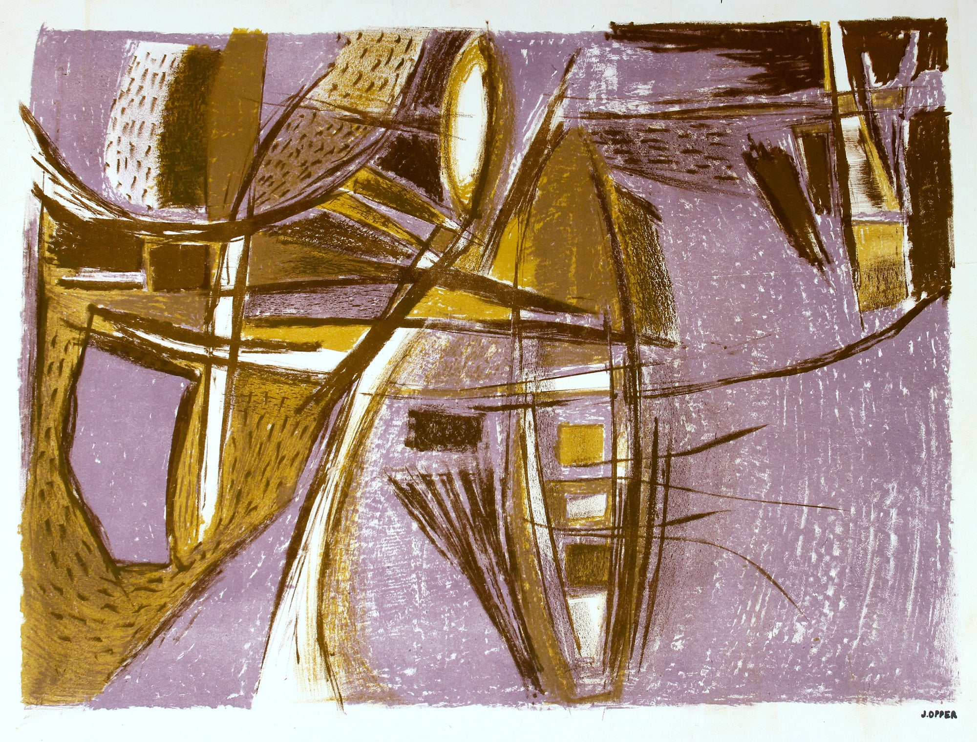 Purple and Brown Abstract  <br>1940-50s Lithograph <br><br>#40747