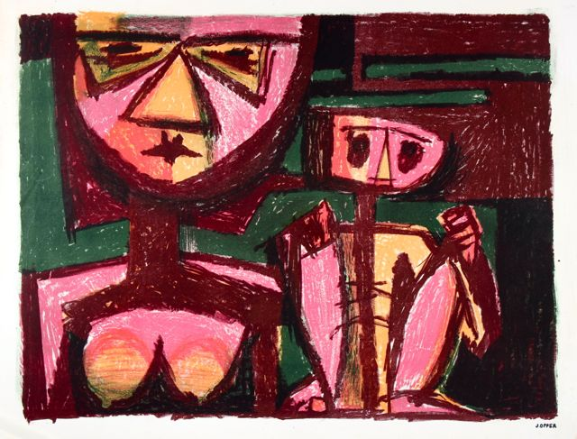 Abstracted Figures in Red <br>1940-50s Stone Lithograph <br><br>#41588