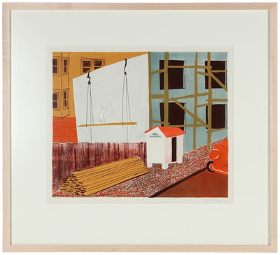 San Francisco Construction<br>1950 Stone Lithograph<br><br>#38884
