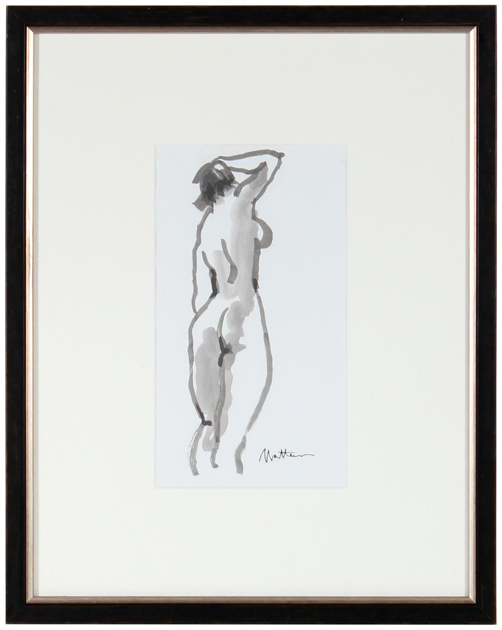 Modernist Standing Nude <br>20th Century Ink Wash <br><br>#29314