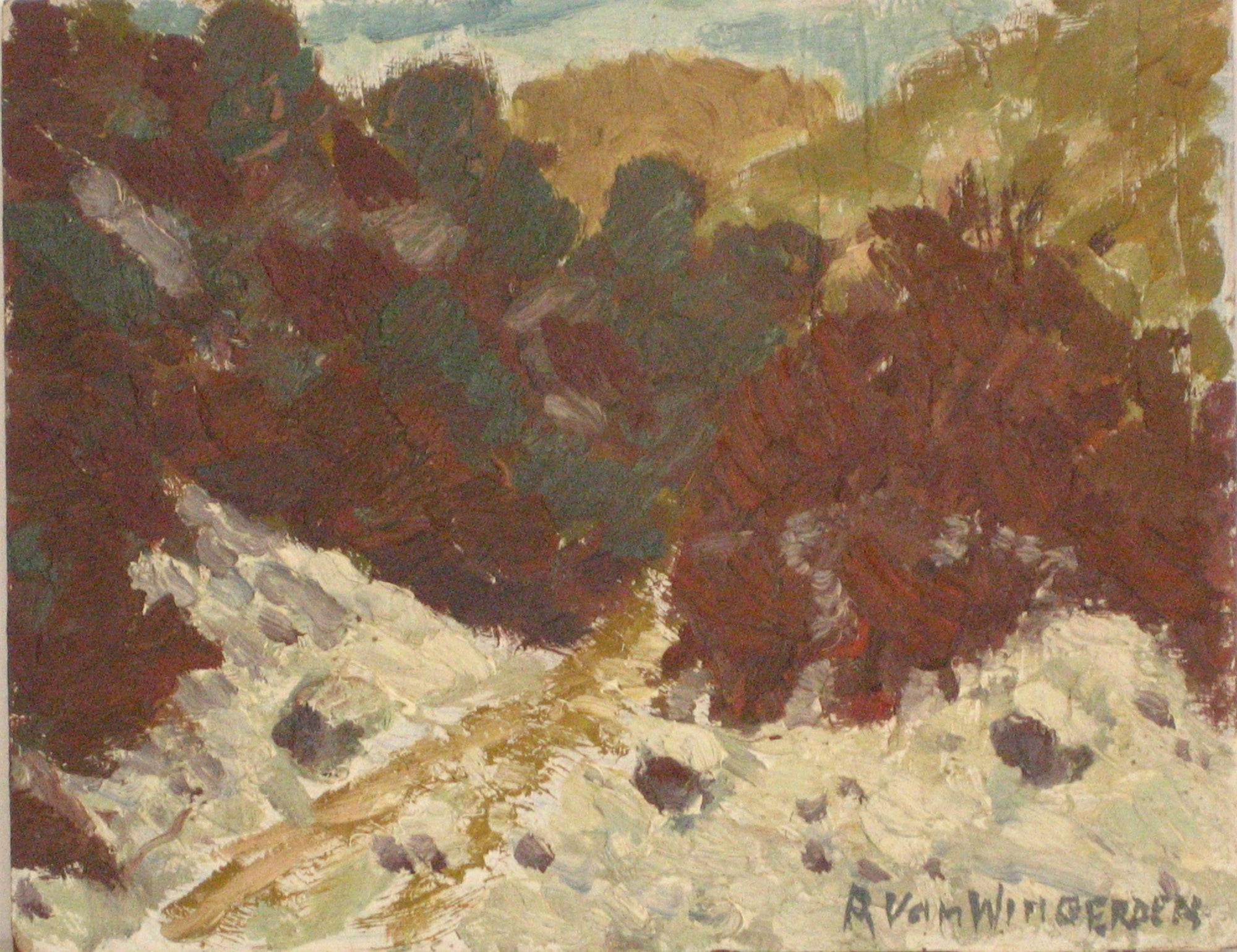 Bay Area Landscape Abstraction<br>Mid Century Oil<br><br>#4262
