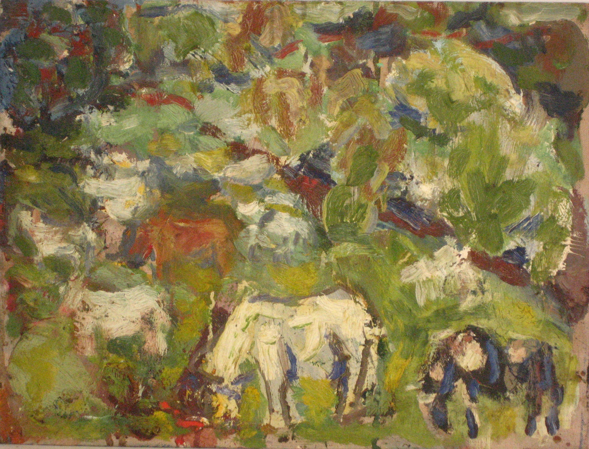 Abstract Hillside with Cows<br>1968 Oil<br><br>#4268