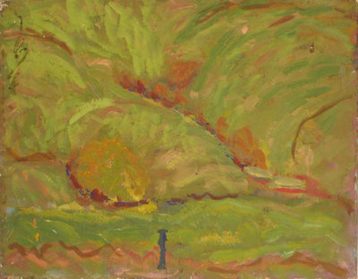 Abstracted Bay Area Hillside<br>1940-60s Oil<br><br>#4272