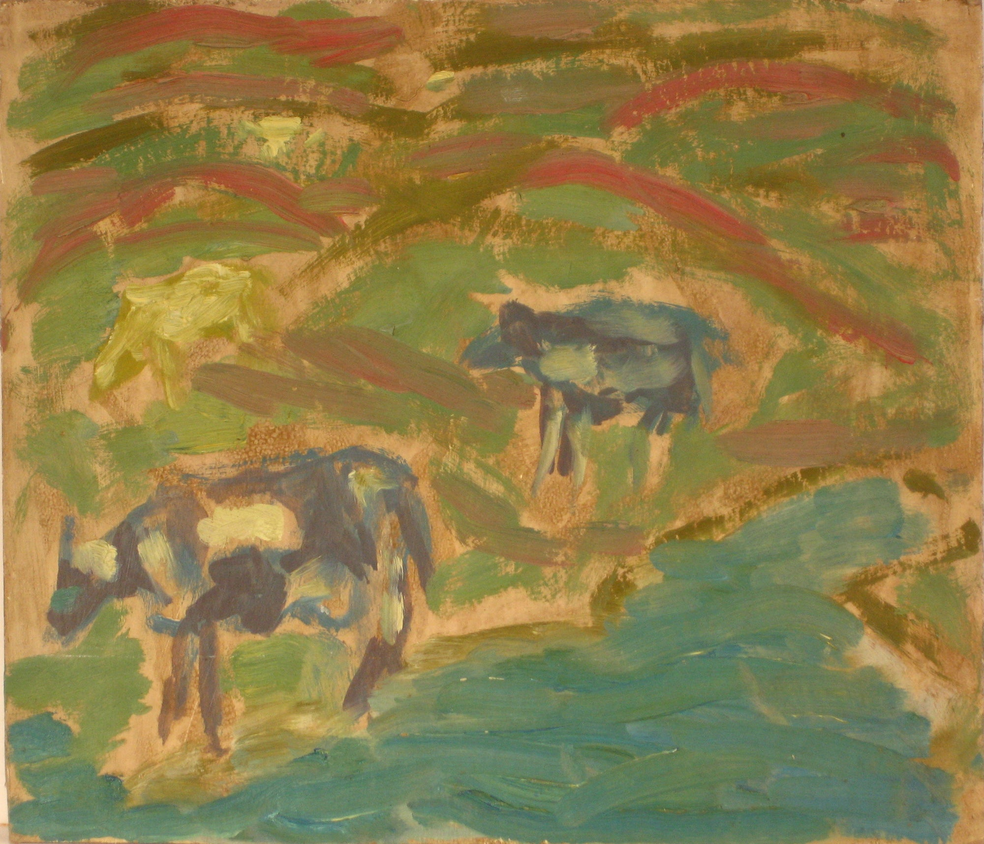 Cows on the Hill<br>1940-60s Oil Scene<br><br>#4274