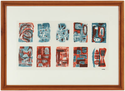Red & Teal Vignettes<br>1940-50s Stone Lithograph<br><br>#40696