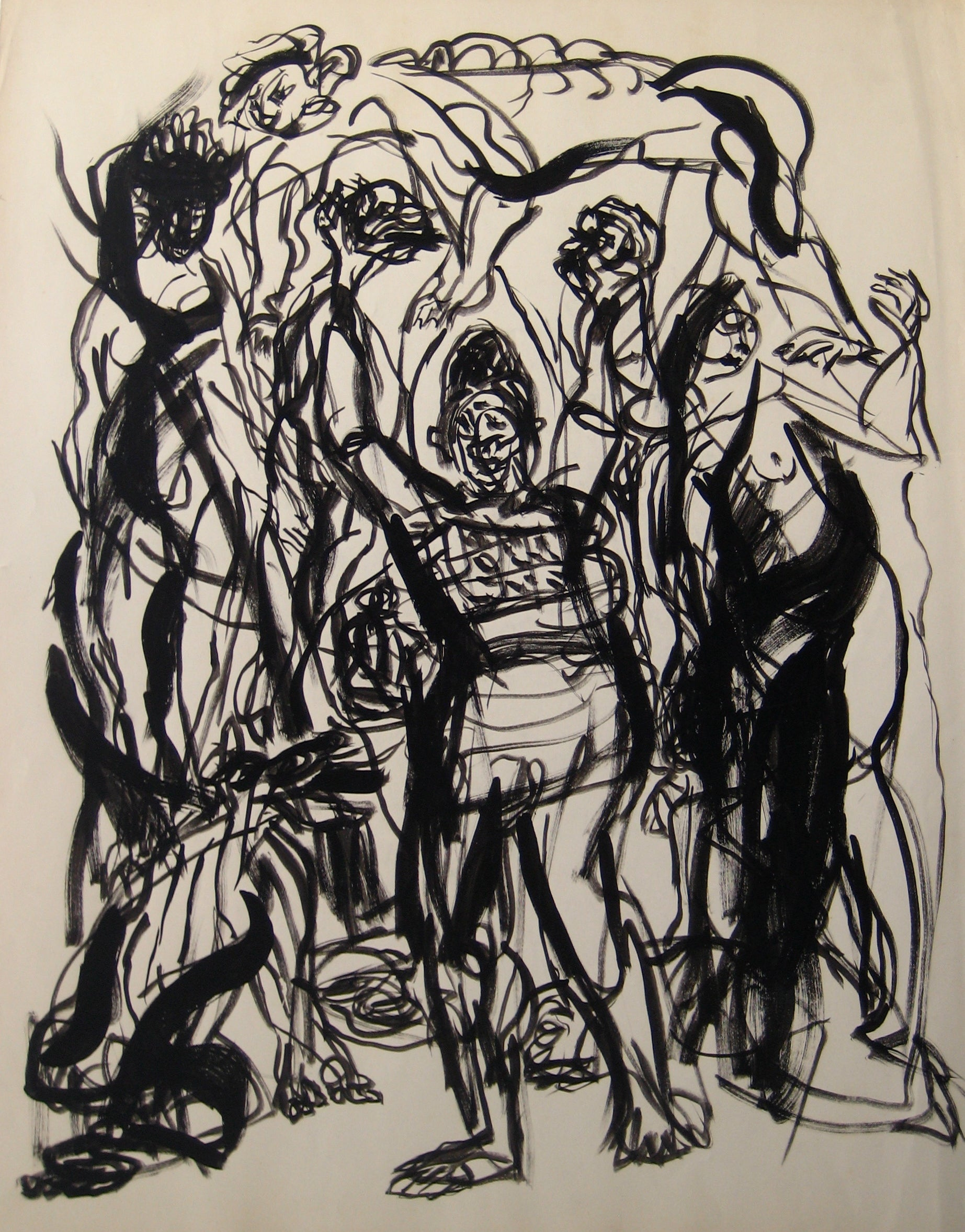 Expressionist Abstracted Figures<br>Early-Mid 20th Century Ink Wash<br><br>#14352