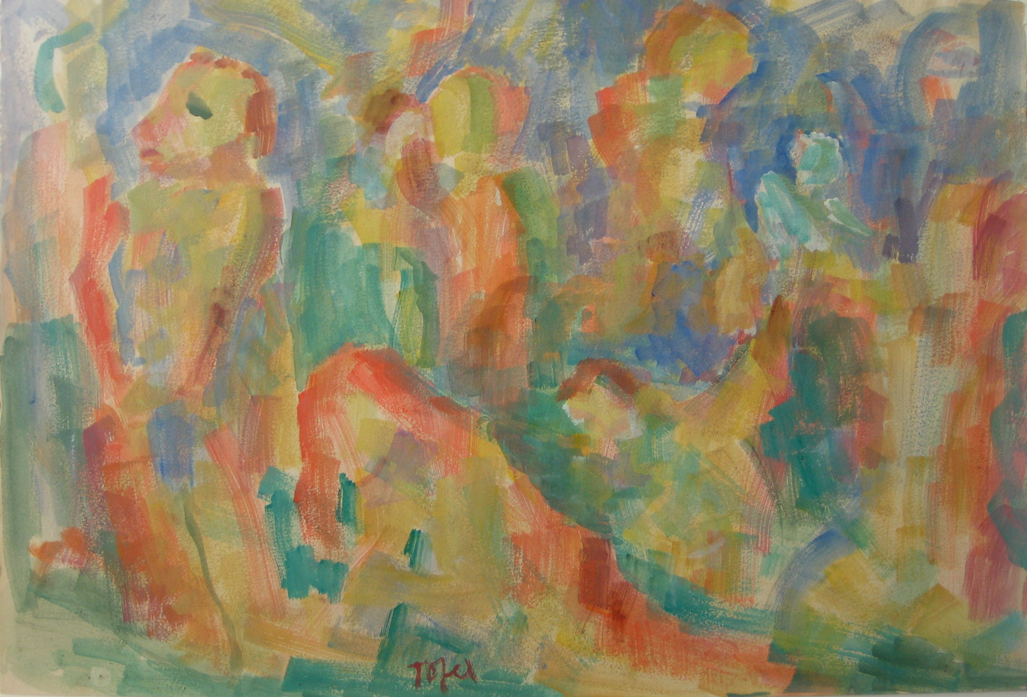 Colorful Expressionist Figure Abstract<br>Early-Mid 20th Century Watercolor<br><br>#14371