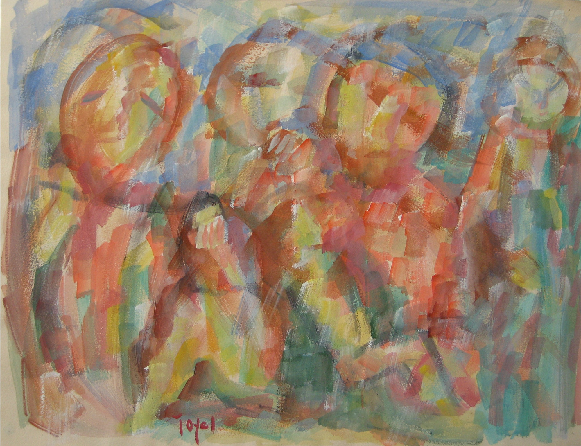 Colorful Expressionist Figure Abstract<br>Early-Mid 20th Century Watercolor<br><br>#14377