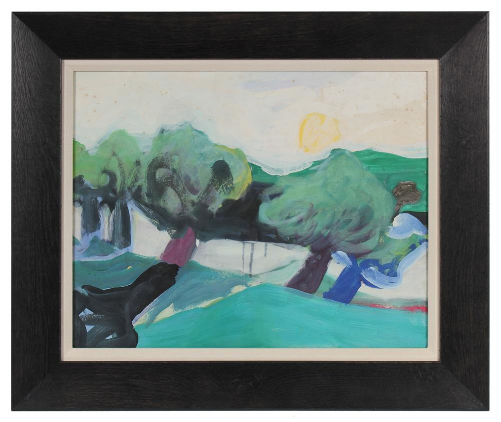 Modernist Landscape with Trees<br>1980s Oil on Paper<br><br>#72057