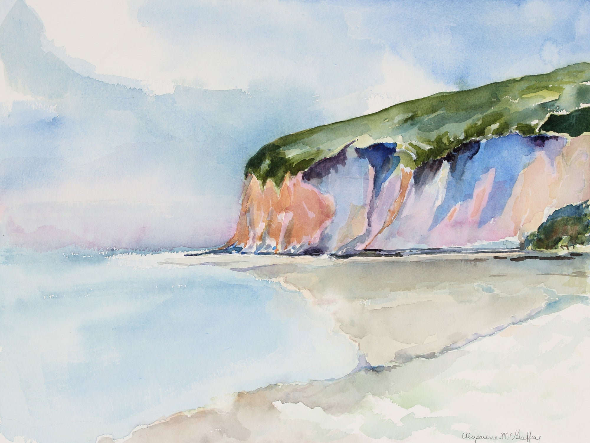 <i>Drake's Beach</i>, Marin, CA <br>20th Century Watercolor <br><br>#43861