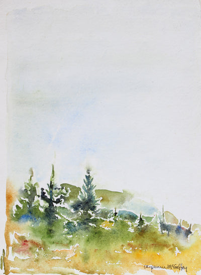 California Trees on Hillside <br>Late 20th-Early 21st Century Watercolor <br><br>#43874