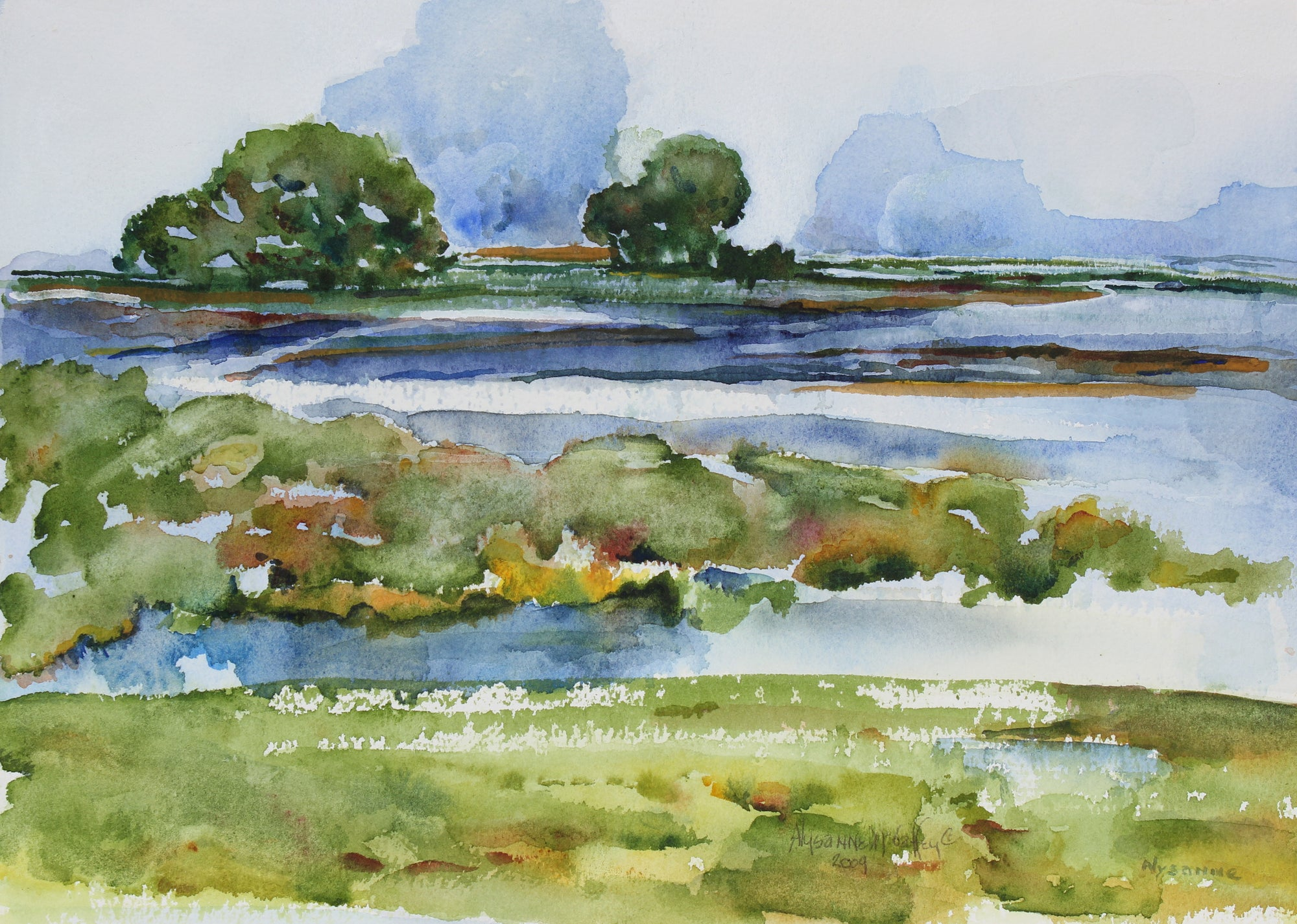 <i>Mystic Wetlands</i>, West Marin, CA <br>2009 Watercolor <br><br>#43996