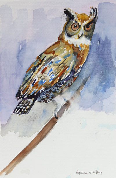 Bold Watercolor Owl<br>Late 20th - Early 21st Century<br><br>#44016