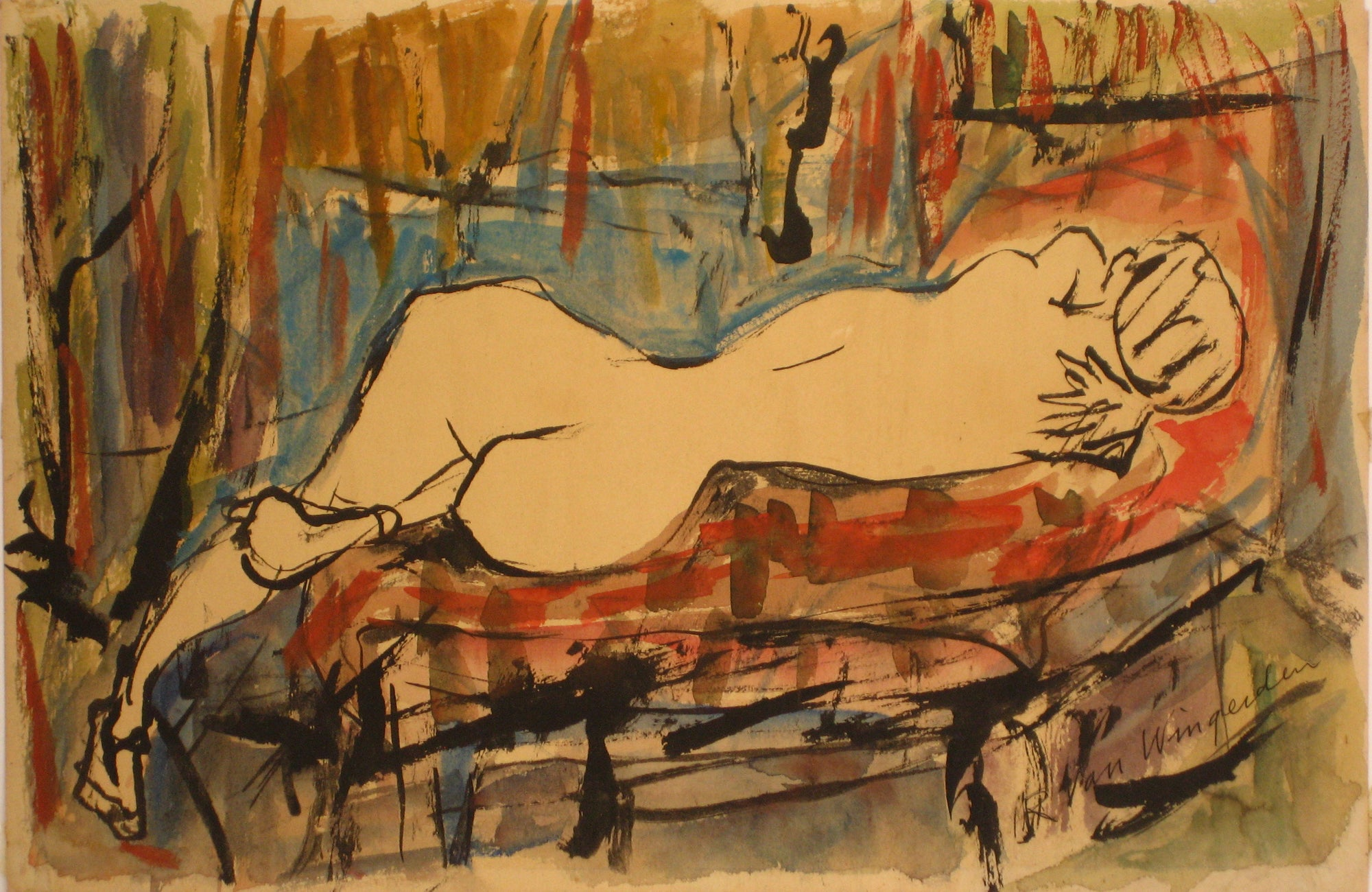 Reclining Nude Figure<br>1940-60s Watercolor<br><br>#4543
