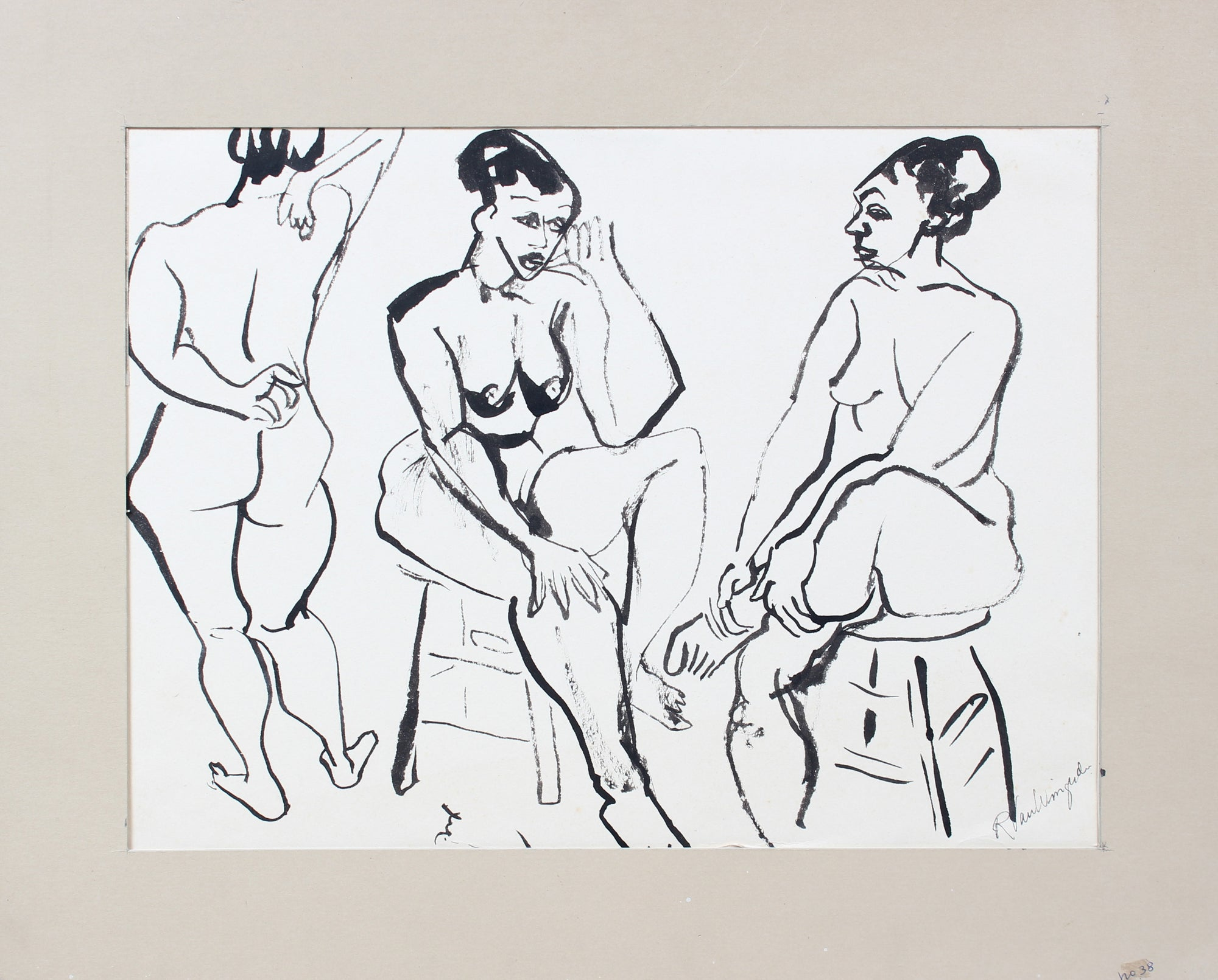 Three Expressionist Seated Nude Figures <br>1940-60s Ink<br><br>#A5245