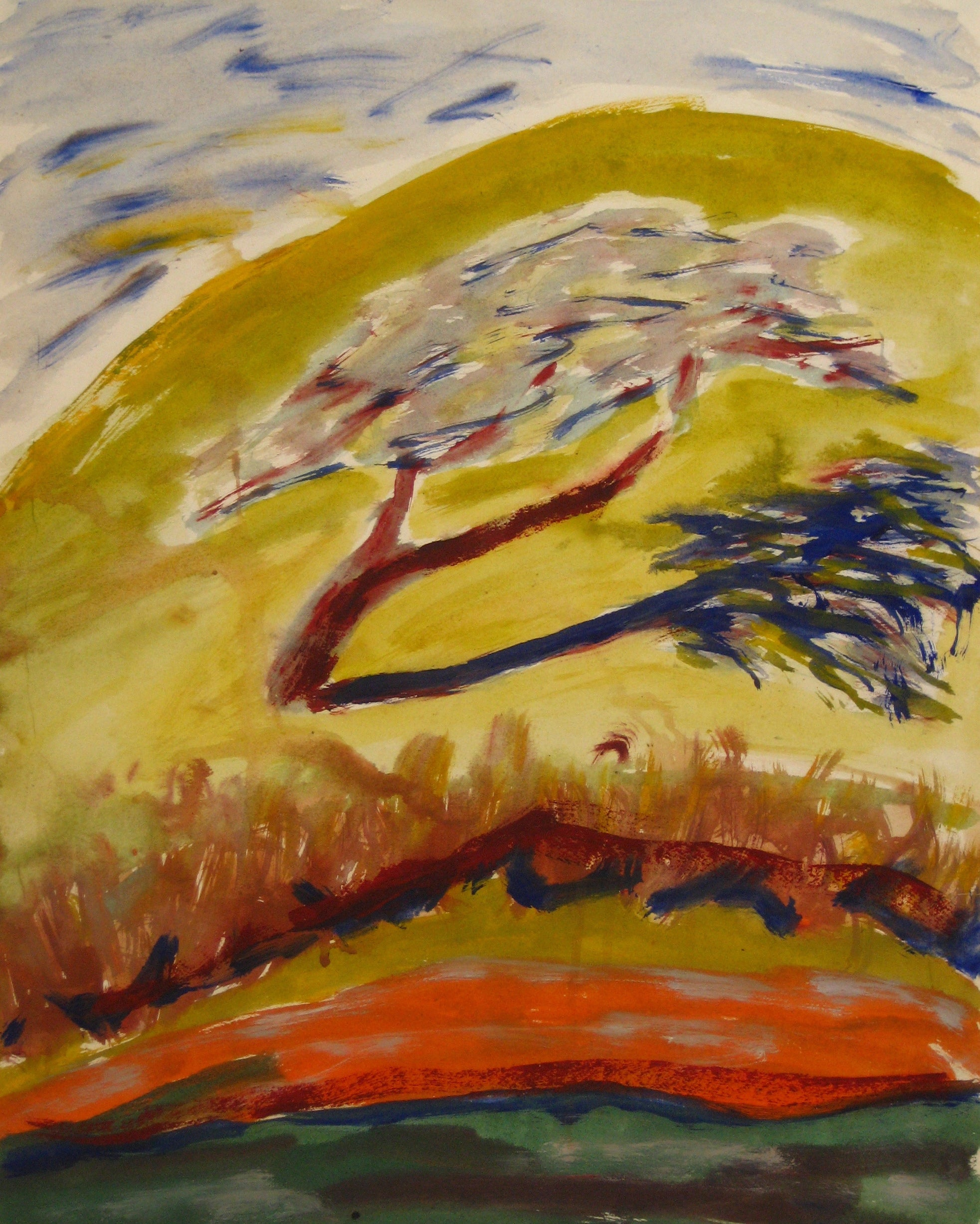 Tree on a Hill<br>1940-60s Watercolor<br><br>#4644