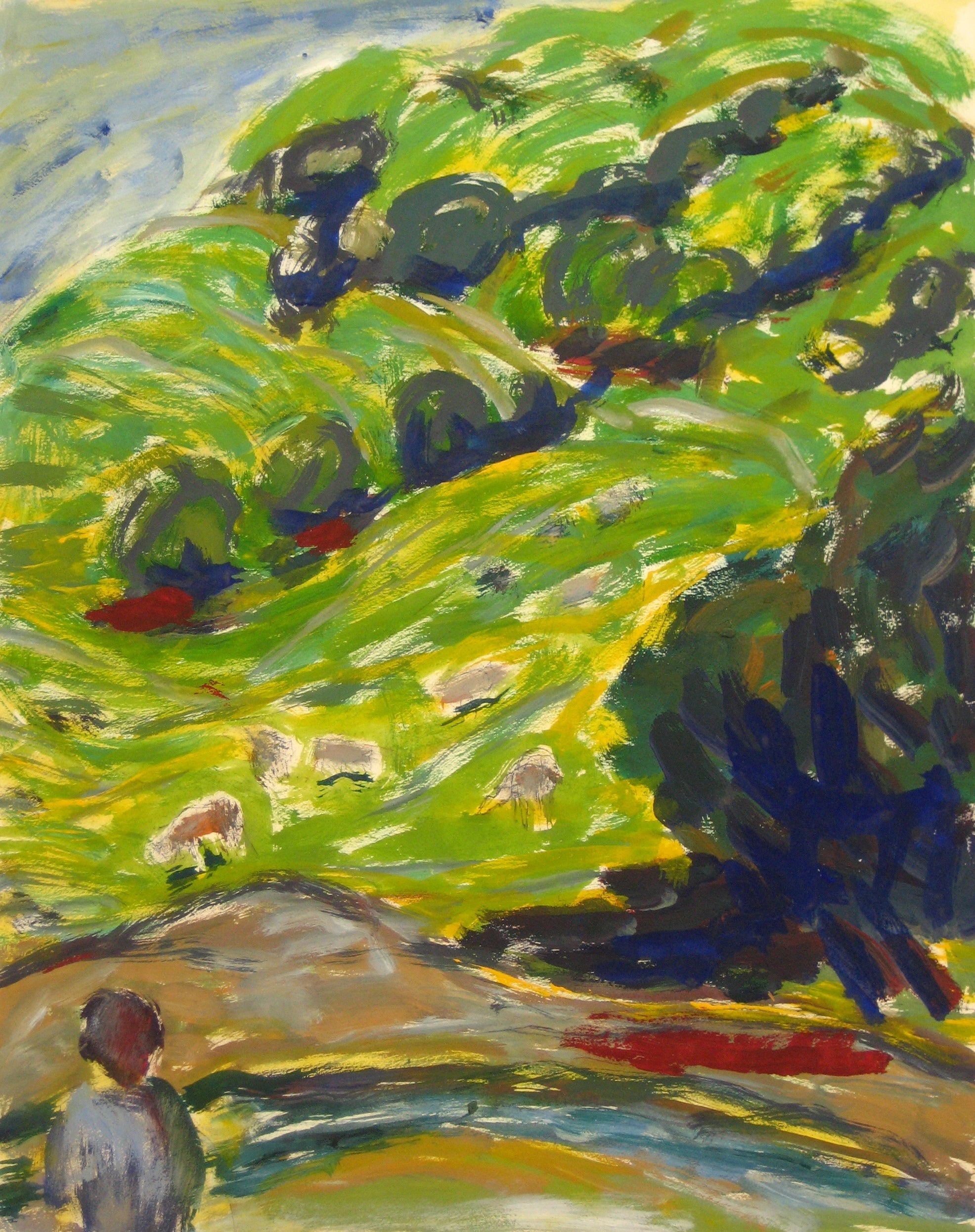 CA Expressionist Hillside<br>1940-60s Oil on Paper<br><br>#4650