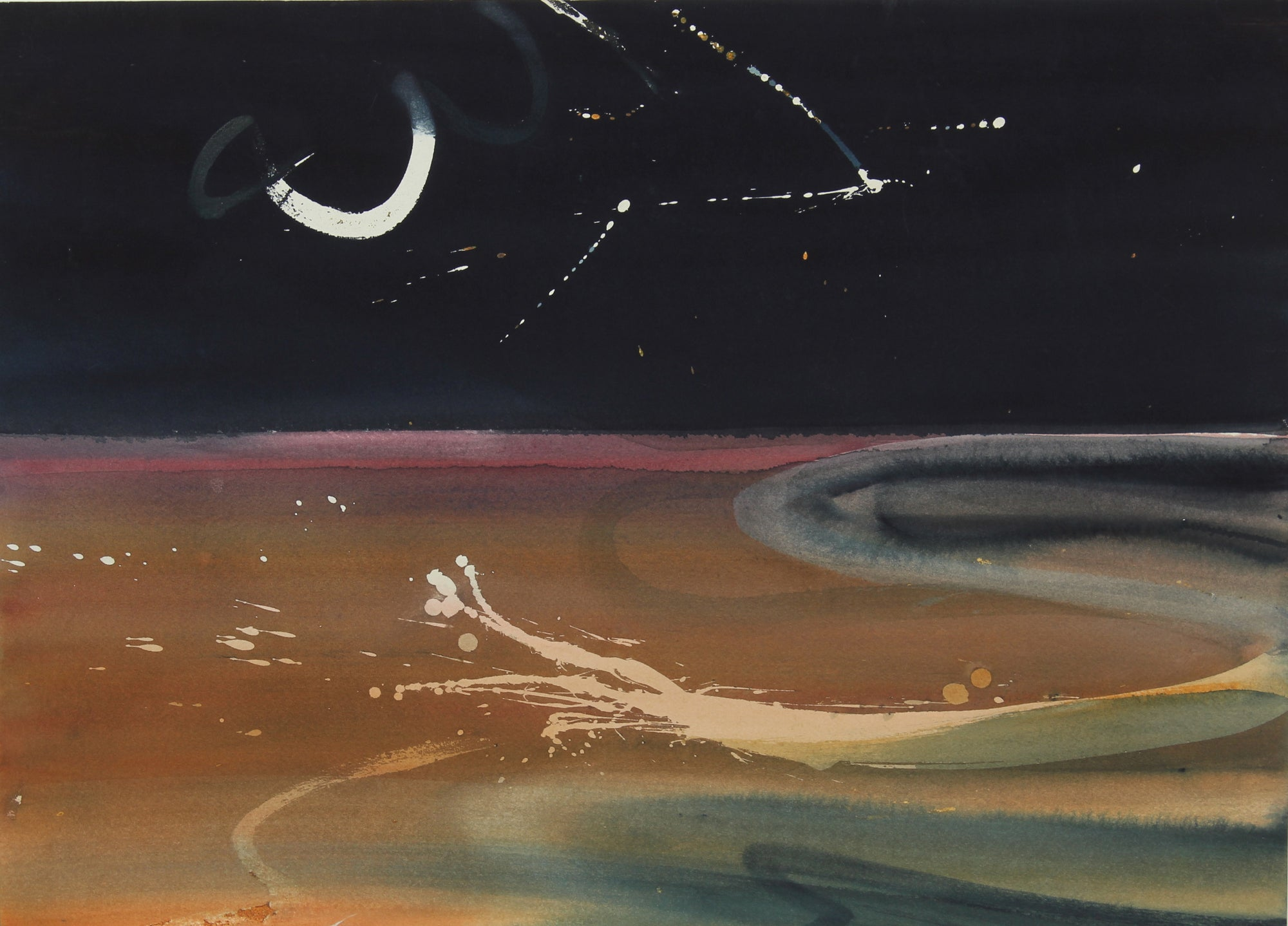 Abstracted Night Sky <br>Late 20th Century Watercolor <br><br>#47267