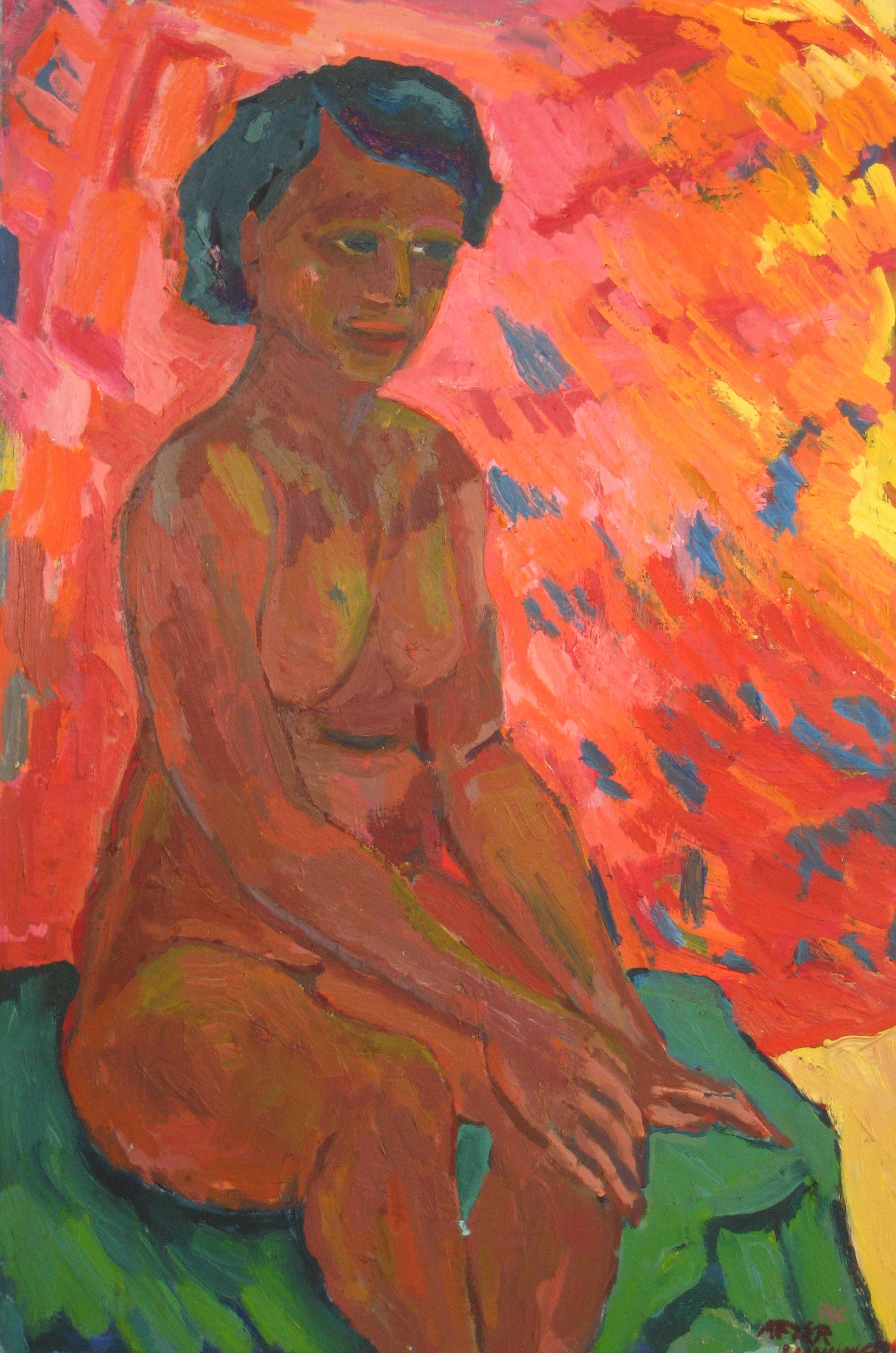 Vibrant Seated Nude<br>Mid Century Oil<br><br>#4823
