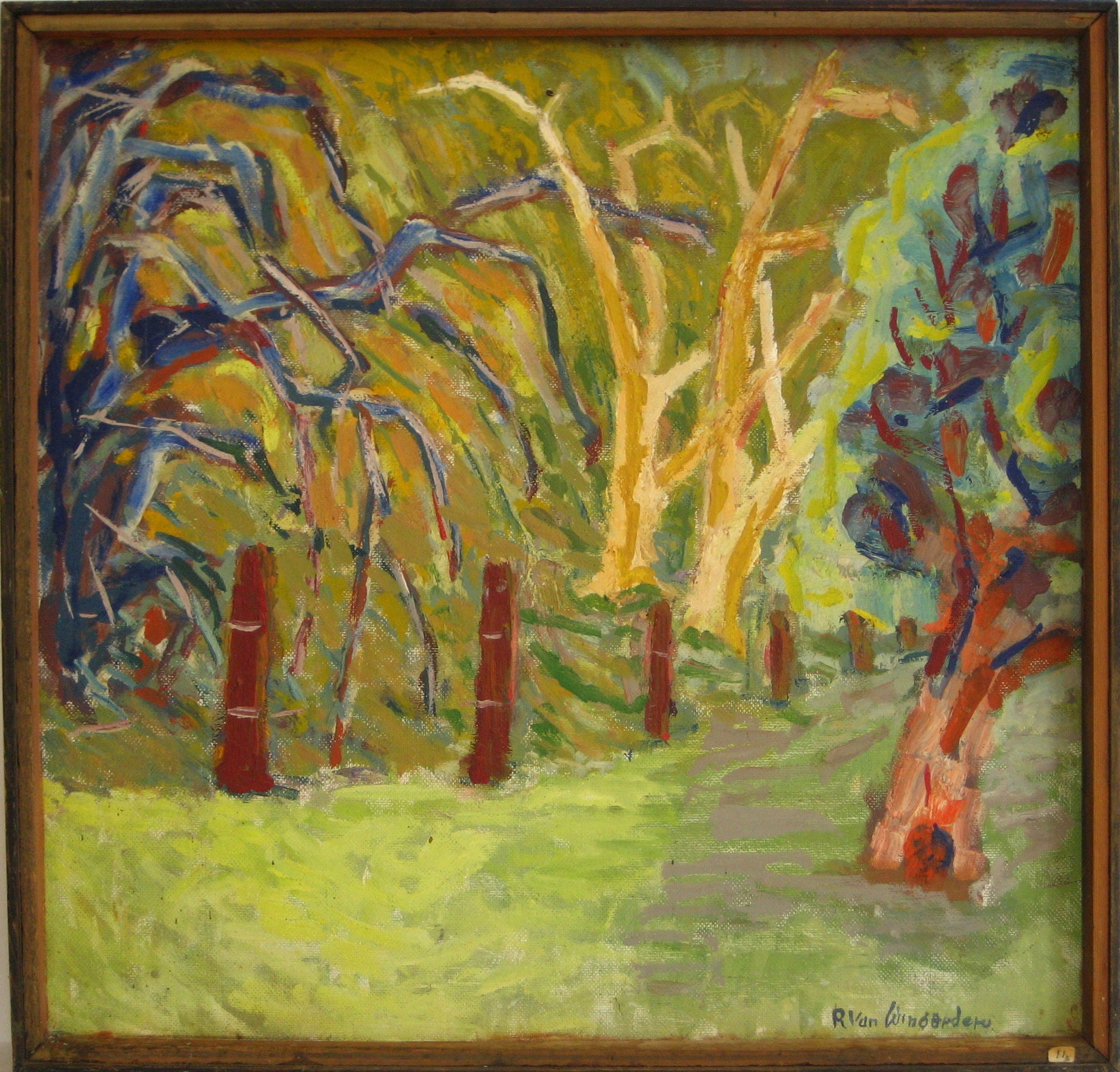 Abstracted Expressionist Trees<br>1940-60s Oil<br><br>#4839