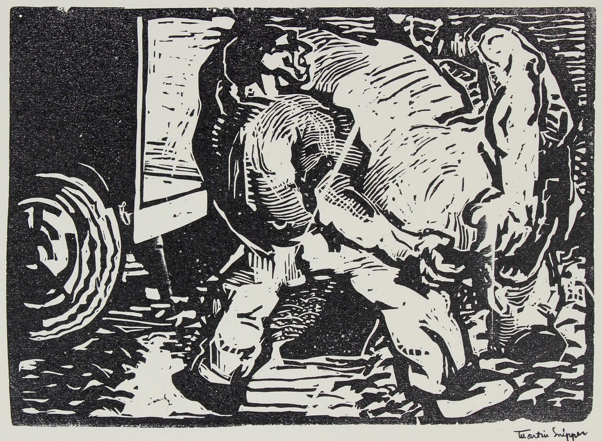 At Work <br>Mid 20th Century Linoleum Block Print <br><br>#48745