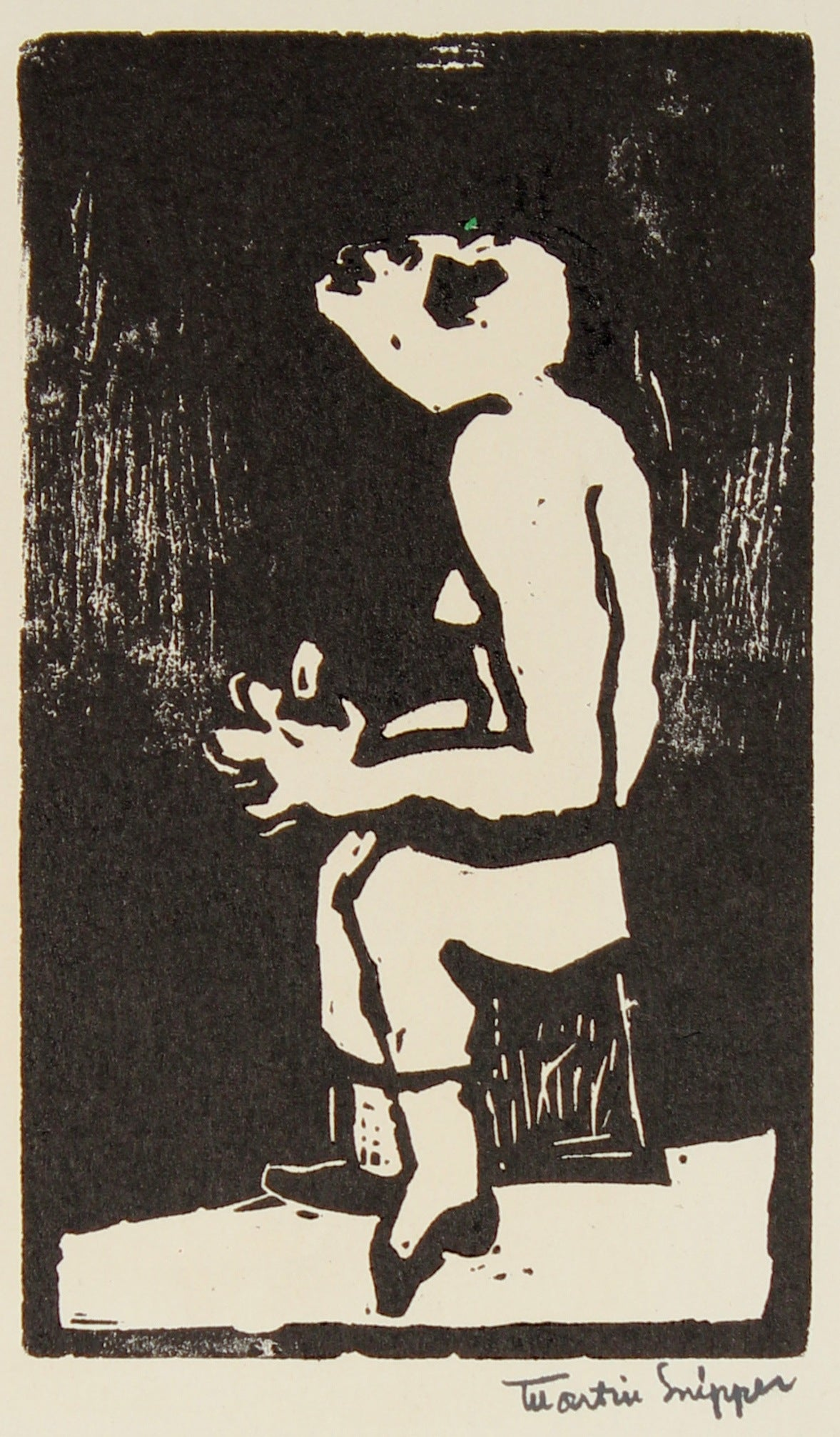 Petite Surreal Figure in Supplication <br>Mid 20th Century Linoleum Block Print <br><br>#48834