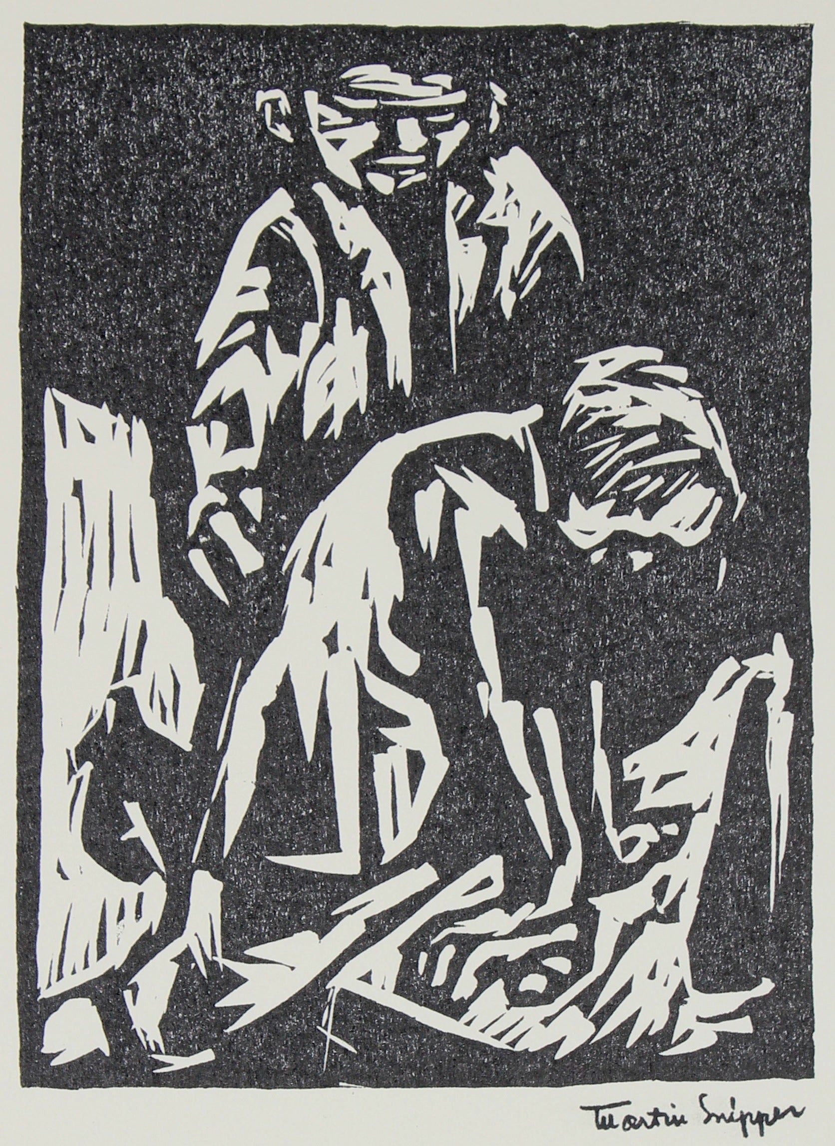 Personal Absorption <br>Mid 20th Century Linoleum Block Print <br><br>#48968