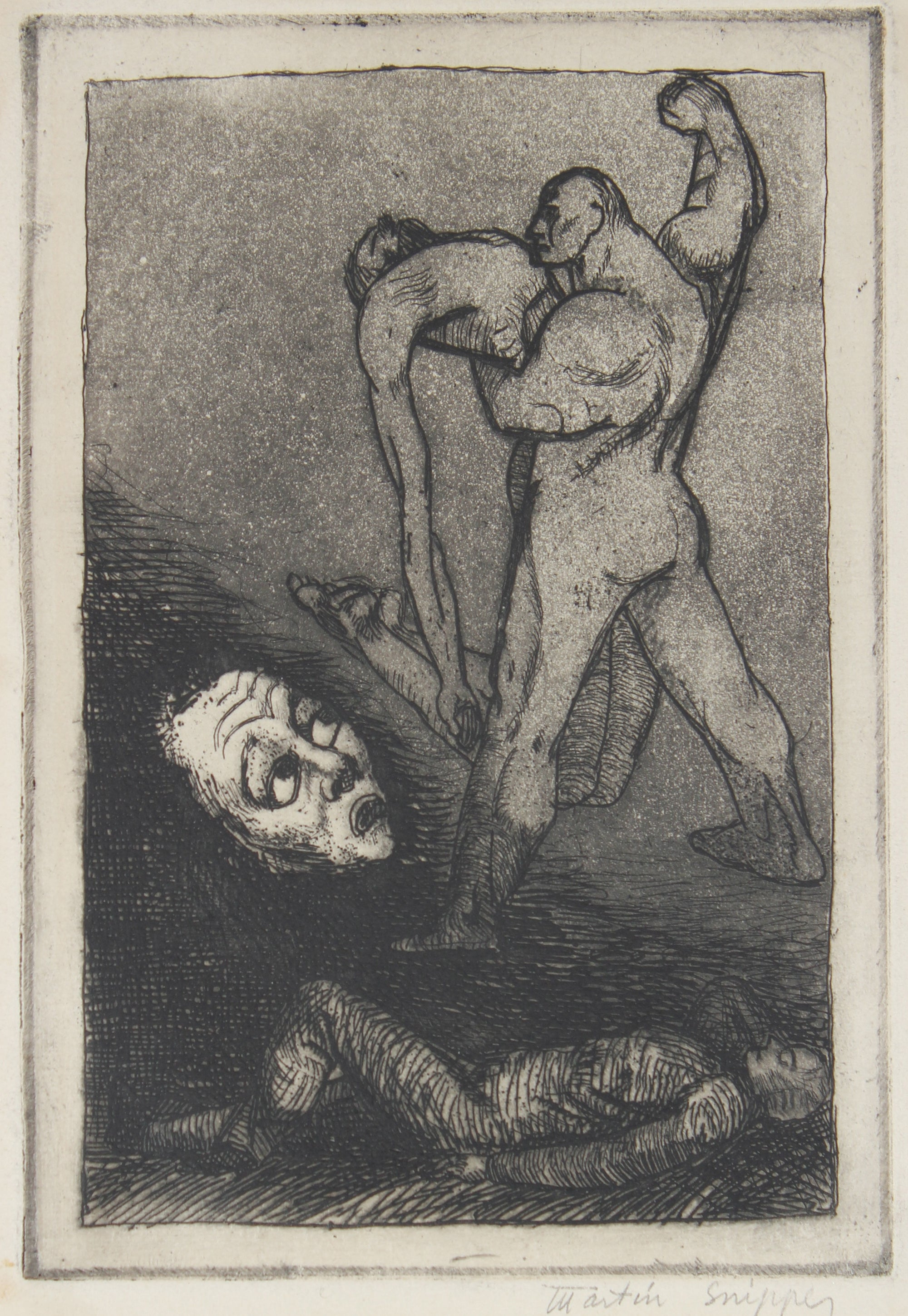 Atmospheric Figurative Scene <br>Mid 20th Century Etching <br><br>#48985