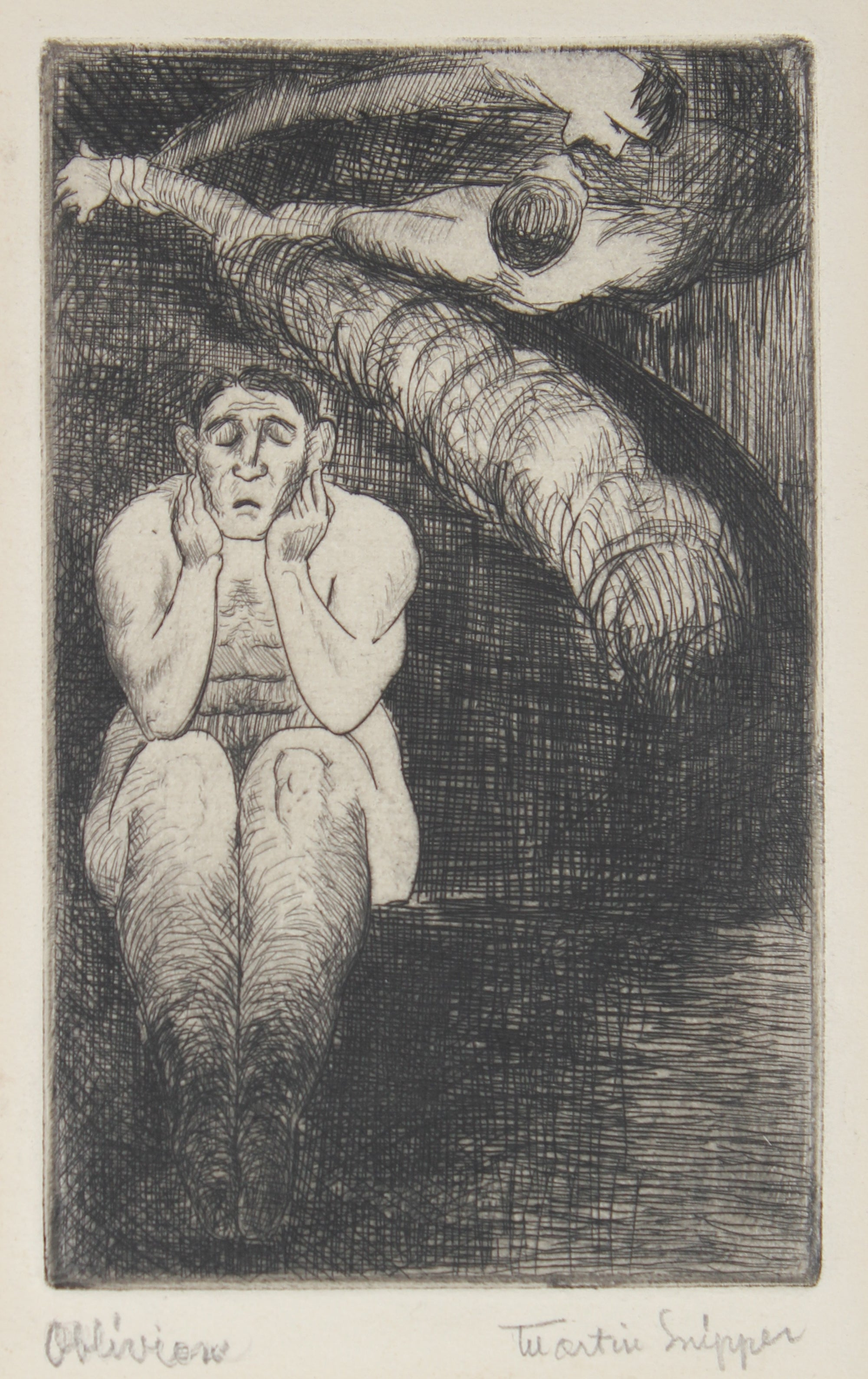 <i>Obliviation</i> <br>Mid 20th Century Etching <br><br>#48987