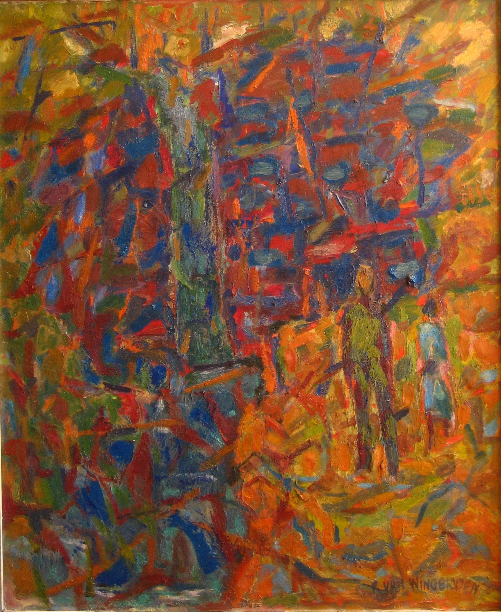 Abstract Expressionist Oil<br>1940-60s Painting<br><br>#4913