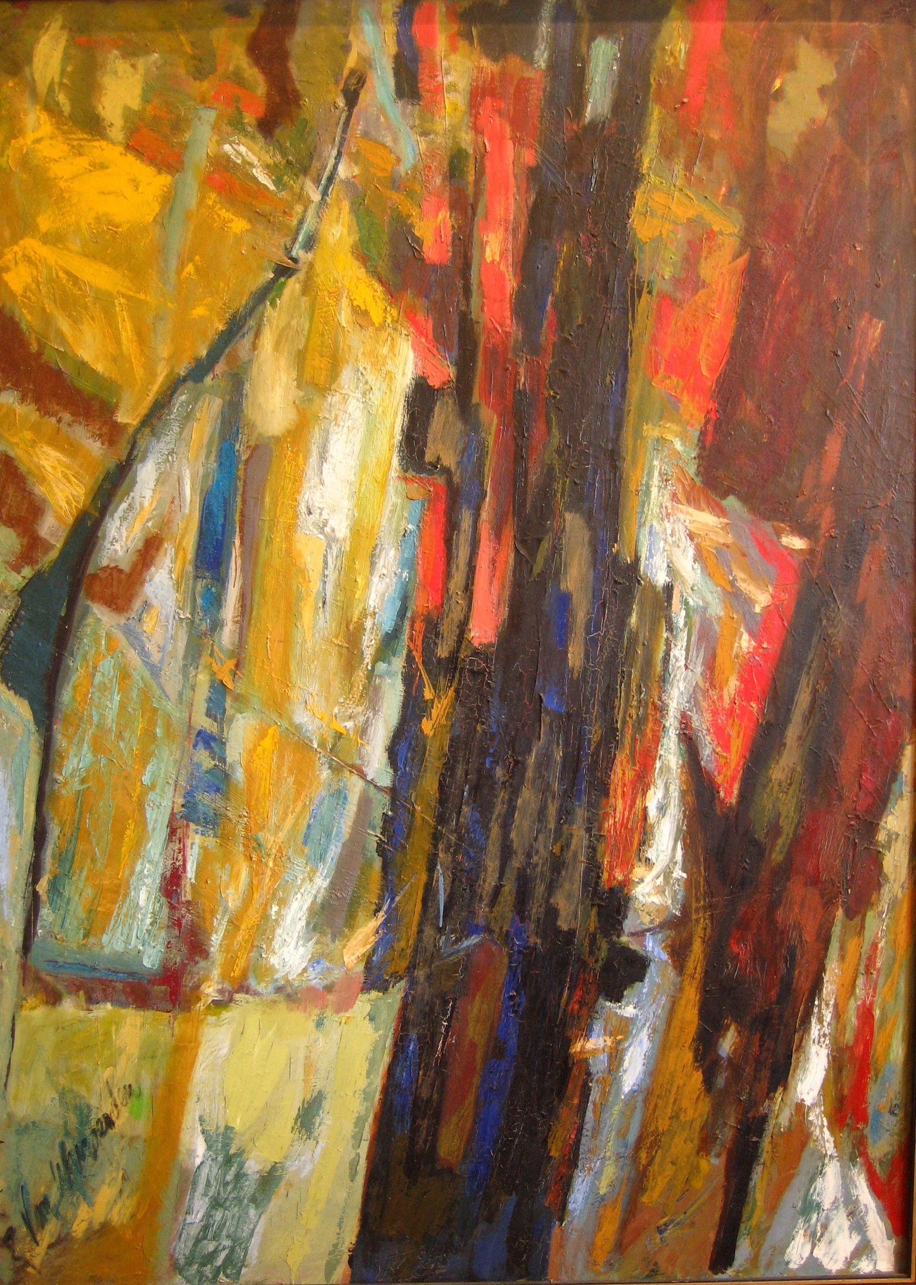 Abstract Expressionist Oil<br>1940-60s Painting<br><br>#4918