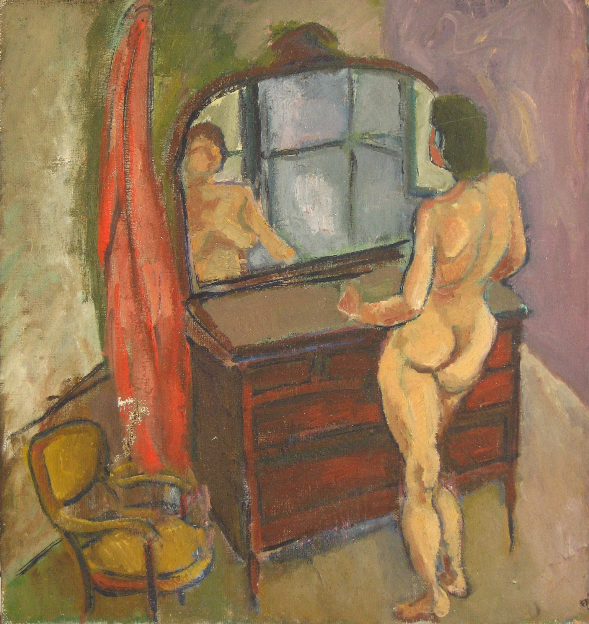 Nude in the Mirror<br>1940-50s Oil<br><br>#4924