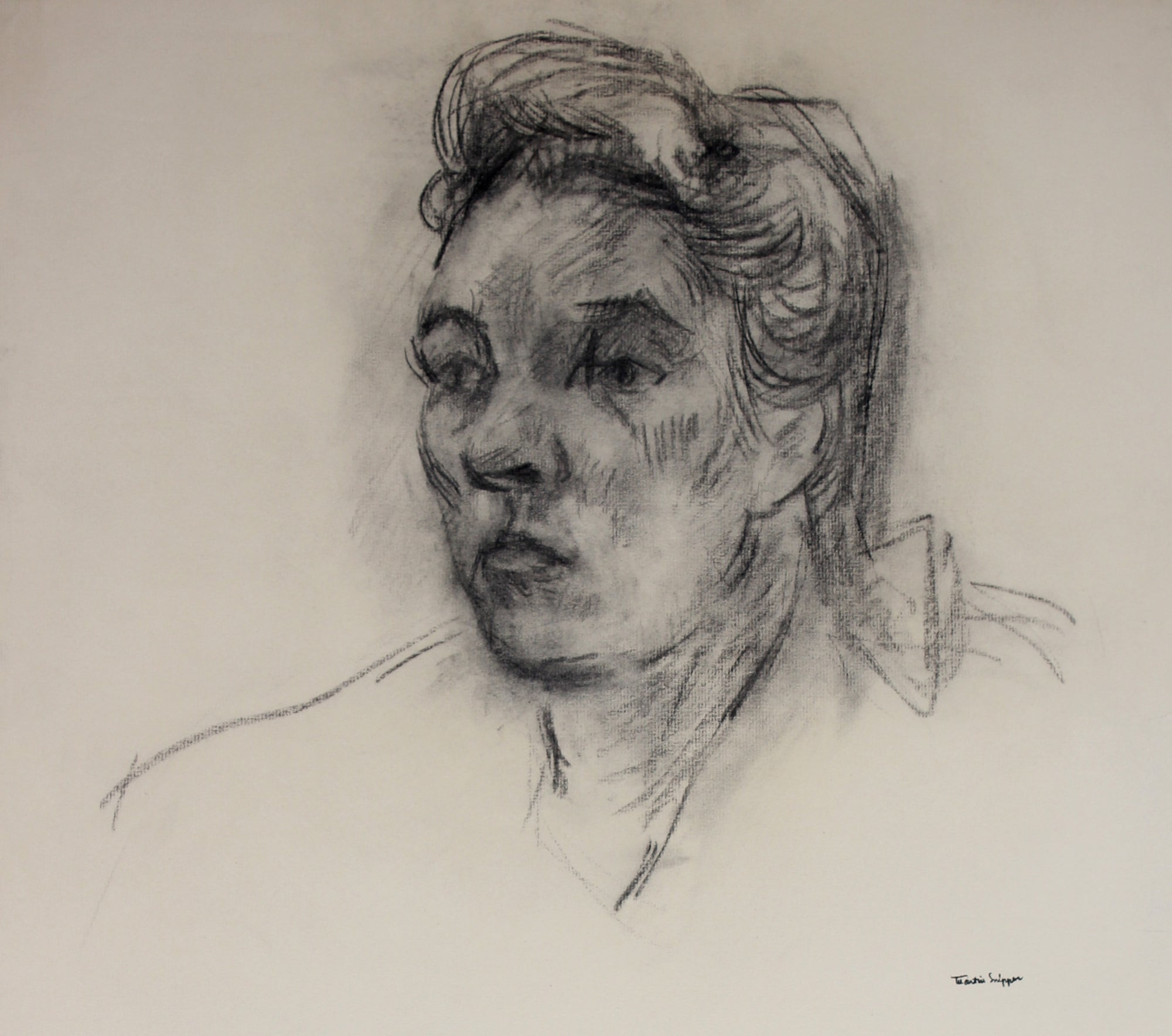 Thick Charcoal Portrait Drawing <br> Mid 20th Century <br><br>#49674