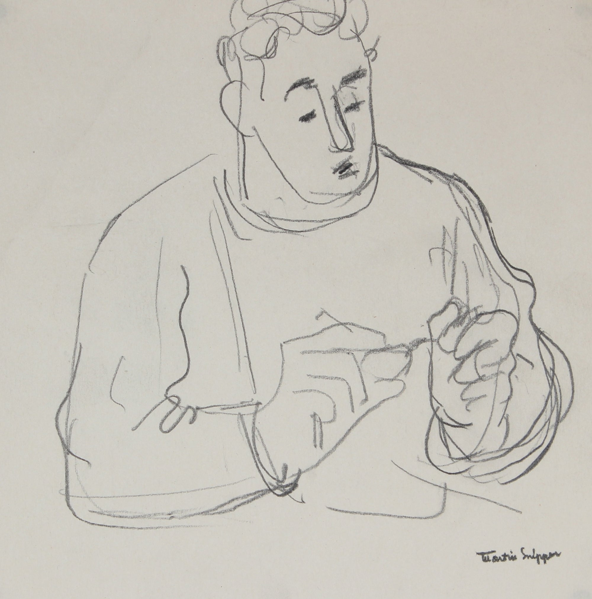 Contemplative Man with Glasses <br>Mid Century Graphite <br><br>#49766
