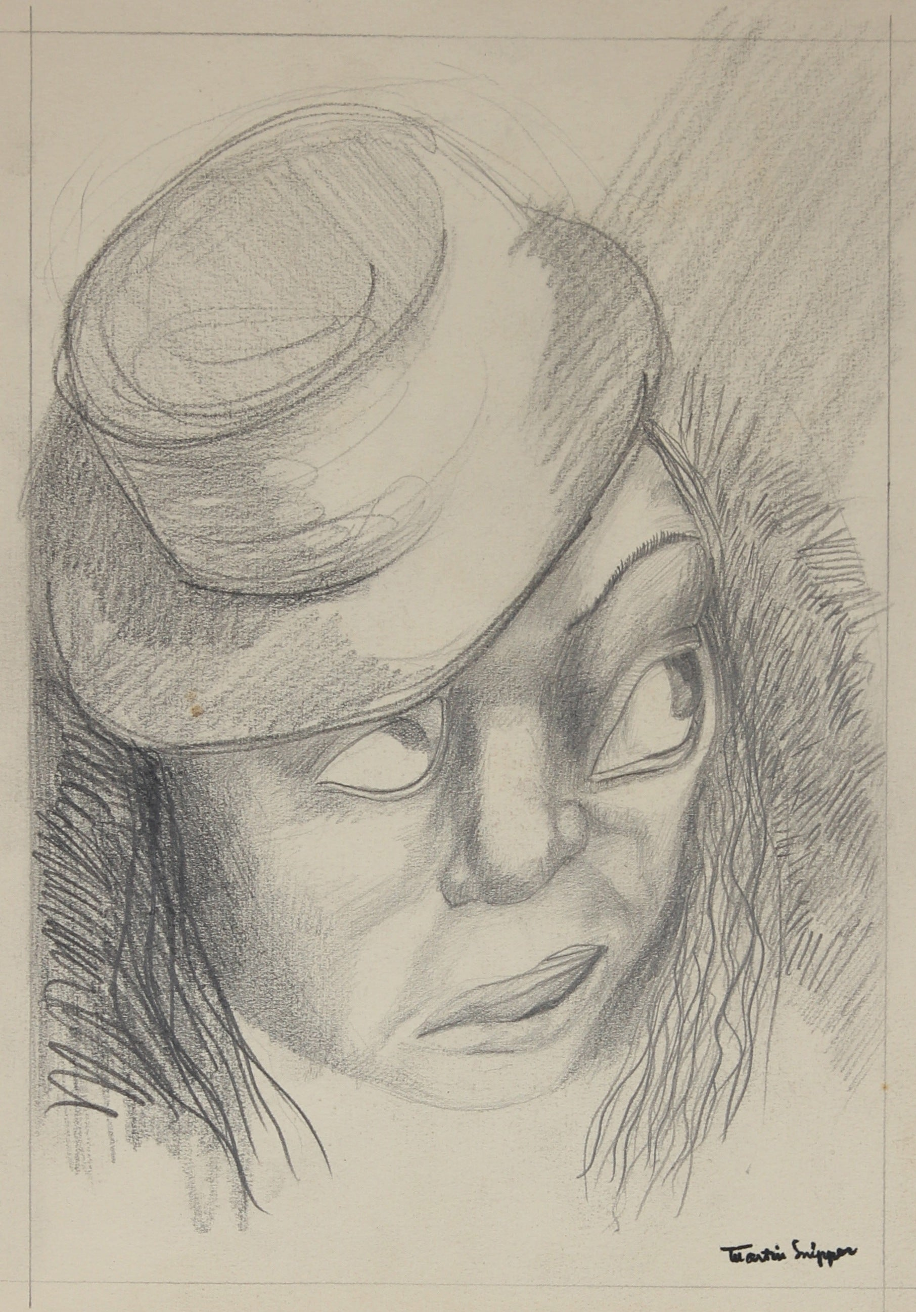 Man with a Top Hat Drawing<br> Mid 20th Century Graphite <br><br>#49773