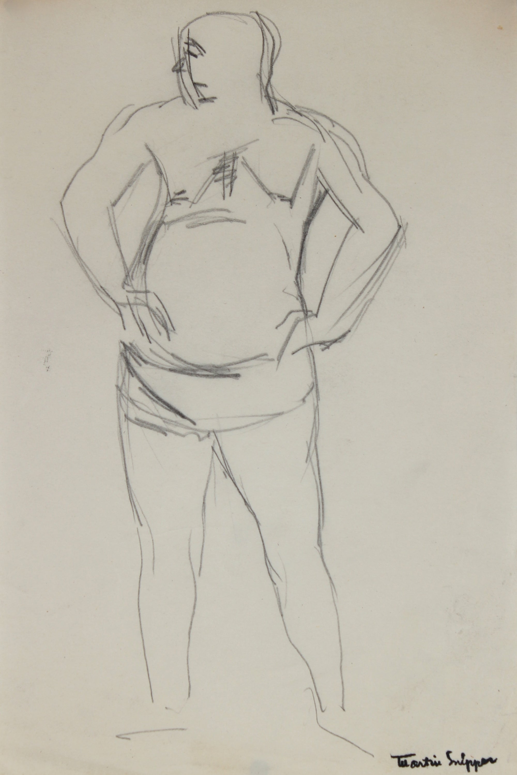 Figurative Sketch <br>Mid Century Graphite <br><br>#49785