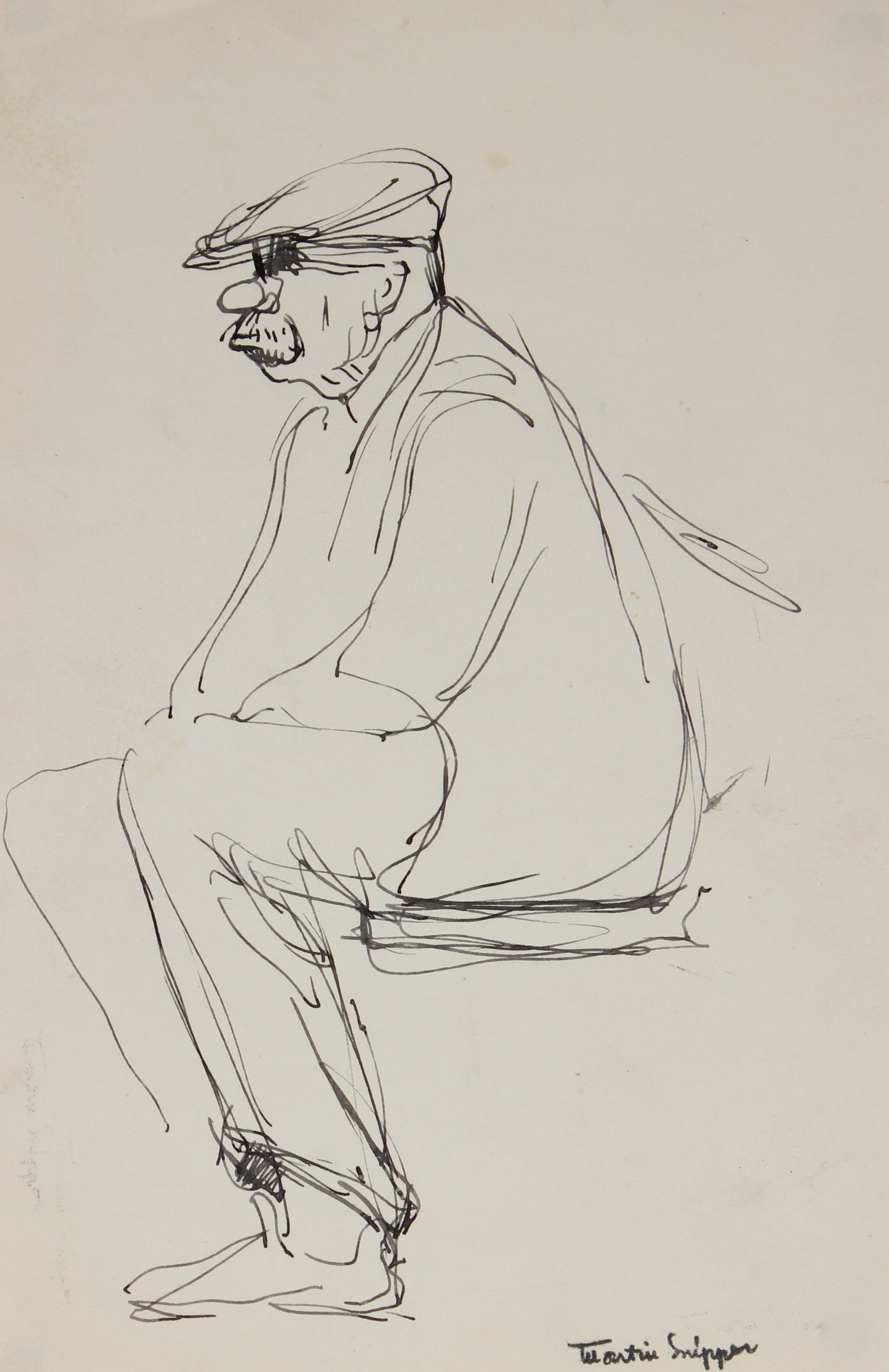 Study of a Seated Man<br>Mid Century Ink Sketch<br><br>#49789
