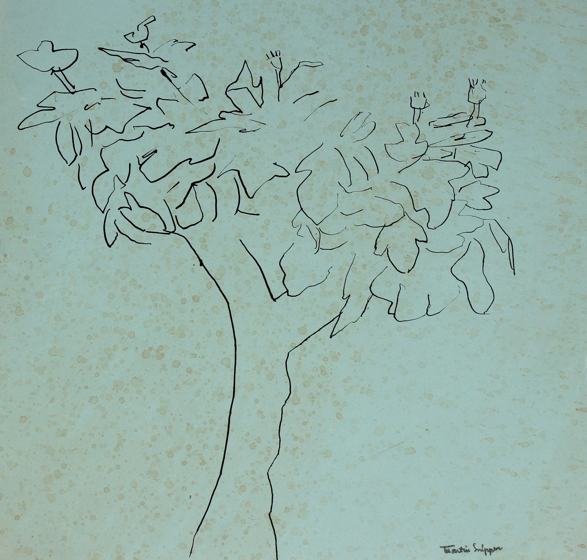 Solitary Tree <br>Mid 20th Century Ink <br><br>#49794