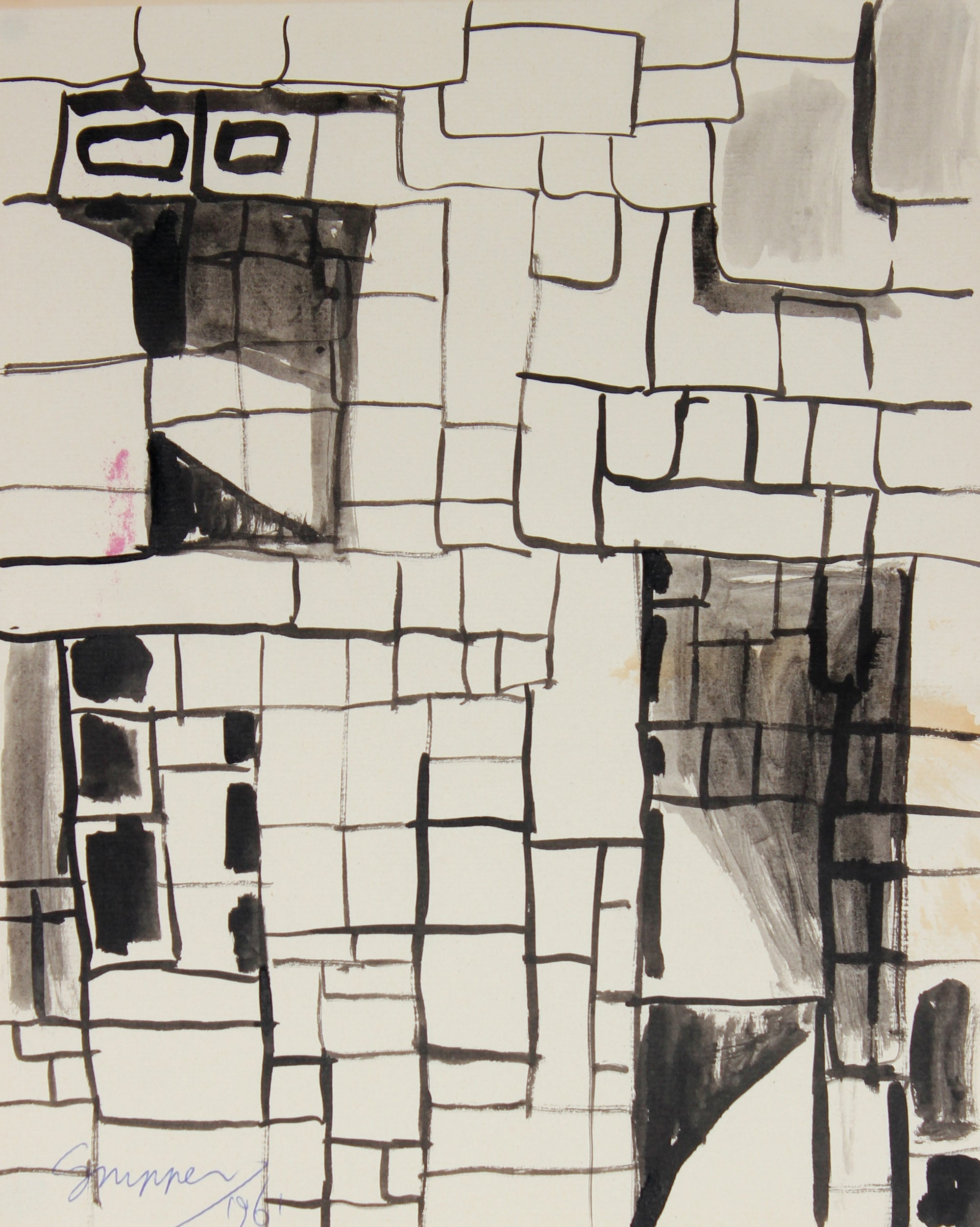 Modernist Brick Wall Abstract <br>1961 Ink <br><br>#49804