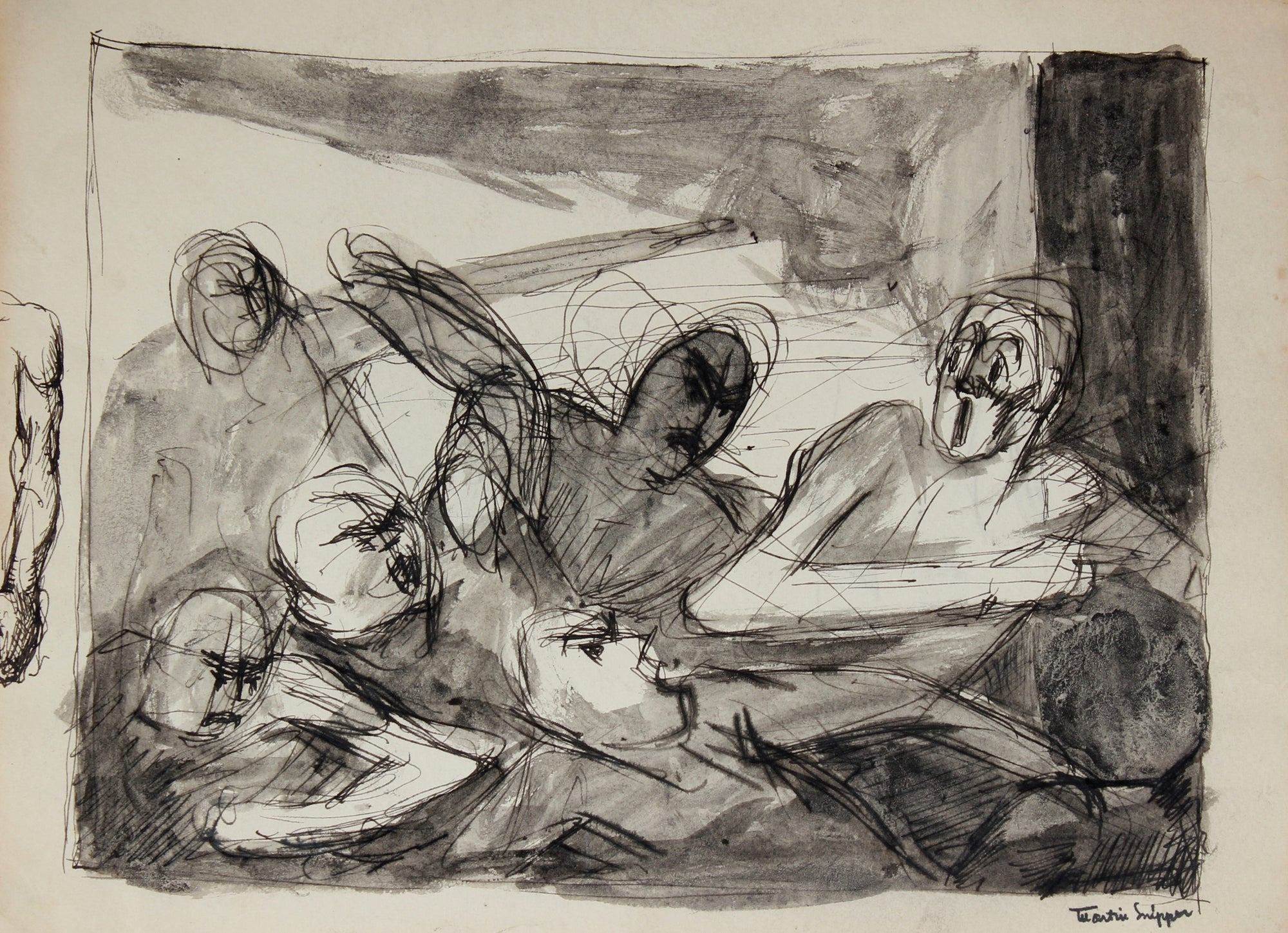 Multiple Figures in a Scene <br>Mid Century Ink Wash<br><br>#49816