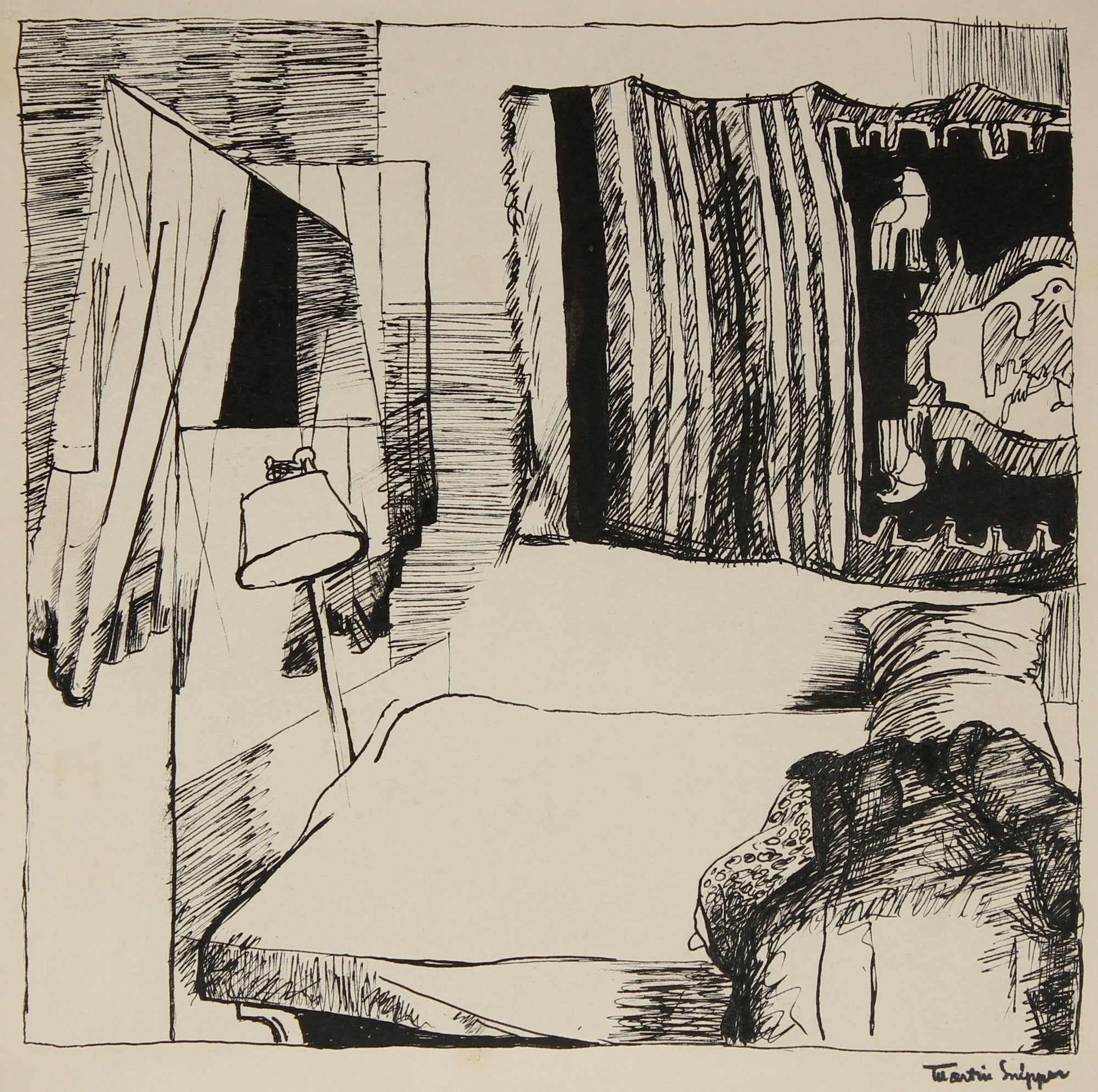 Interior Bedroom Scene <br>Mid Century Ink <br><br>#49817