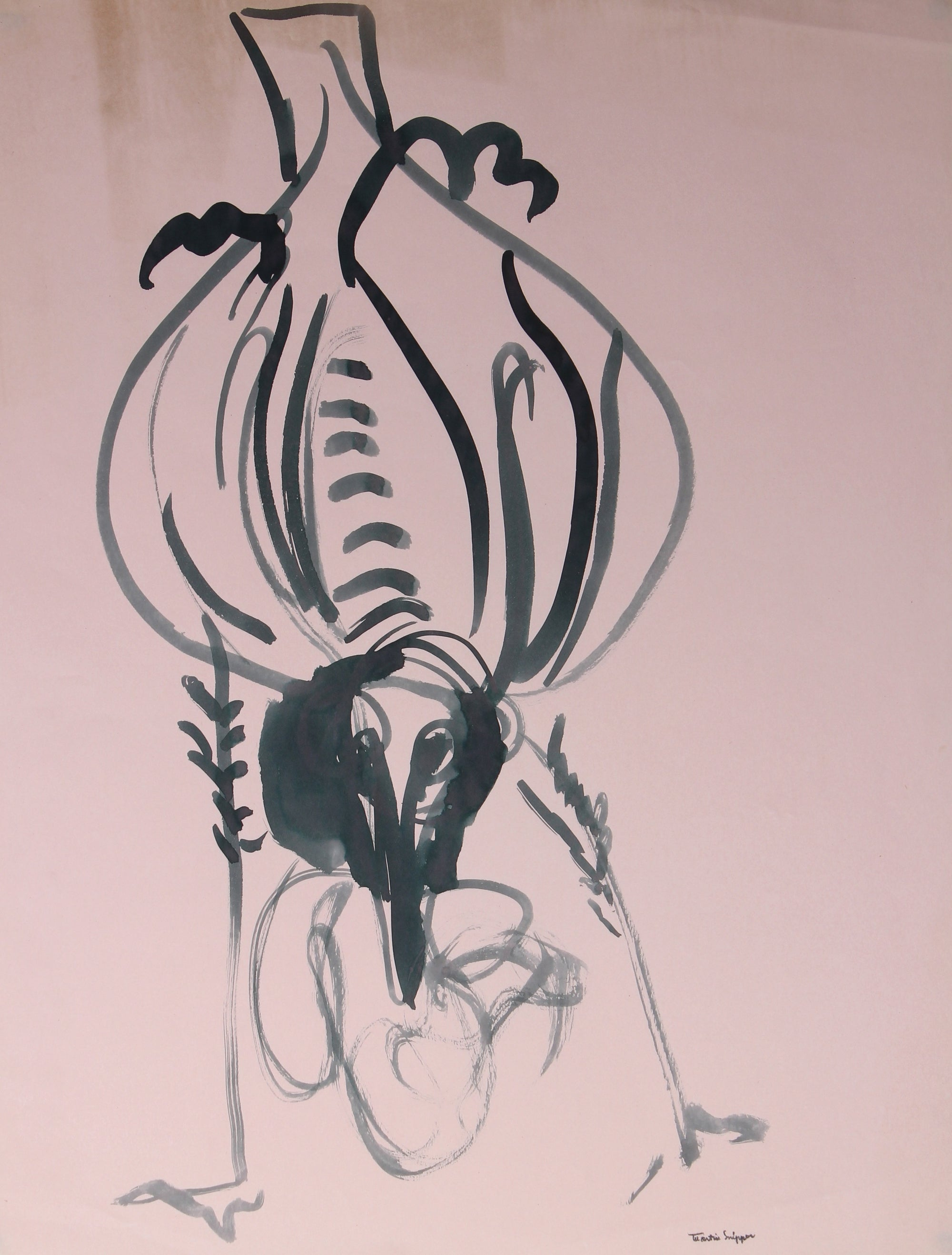 Abstracted Bird Drawing <br>Mid 20th Century Ink <br><br>#49841