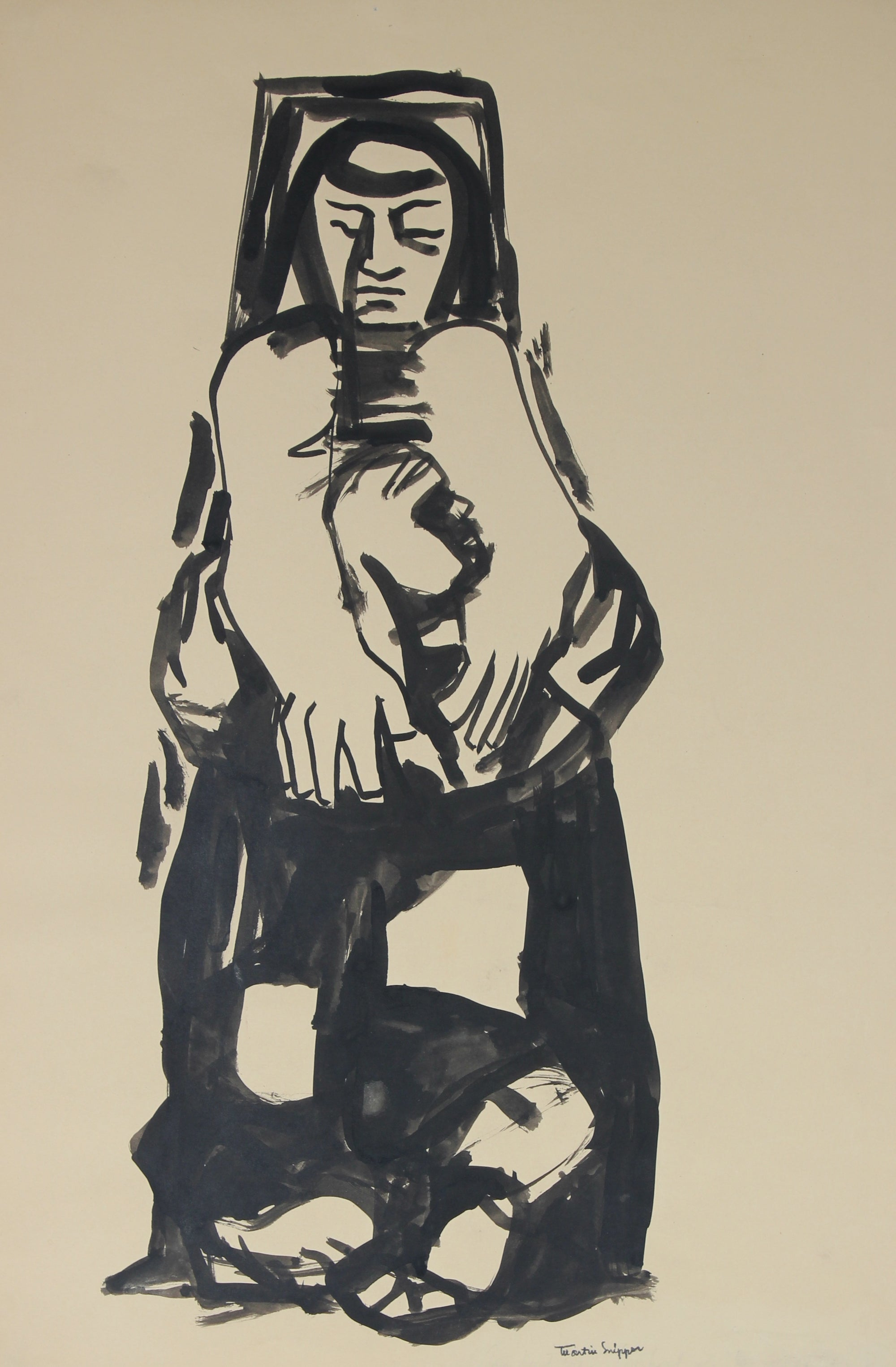 Woman In Introspection <br>Mid Century Ink <br><br>#49853