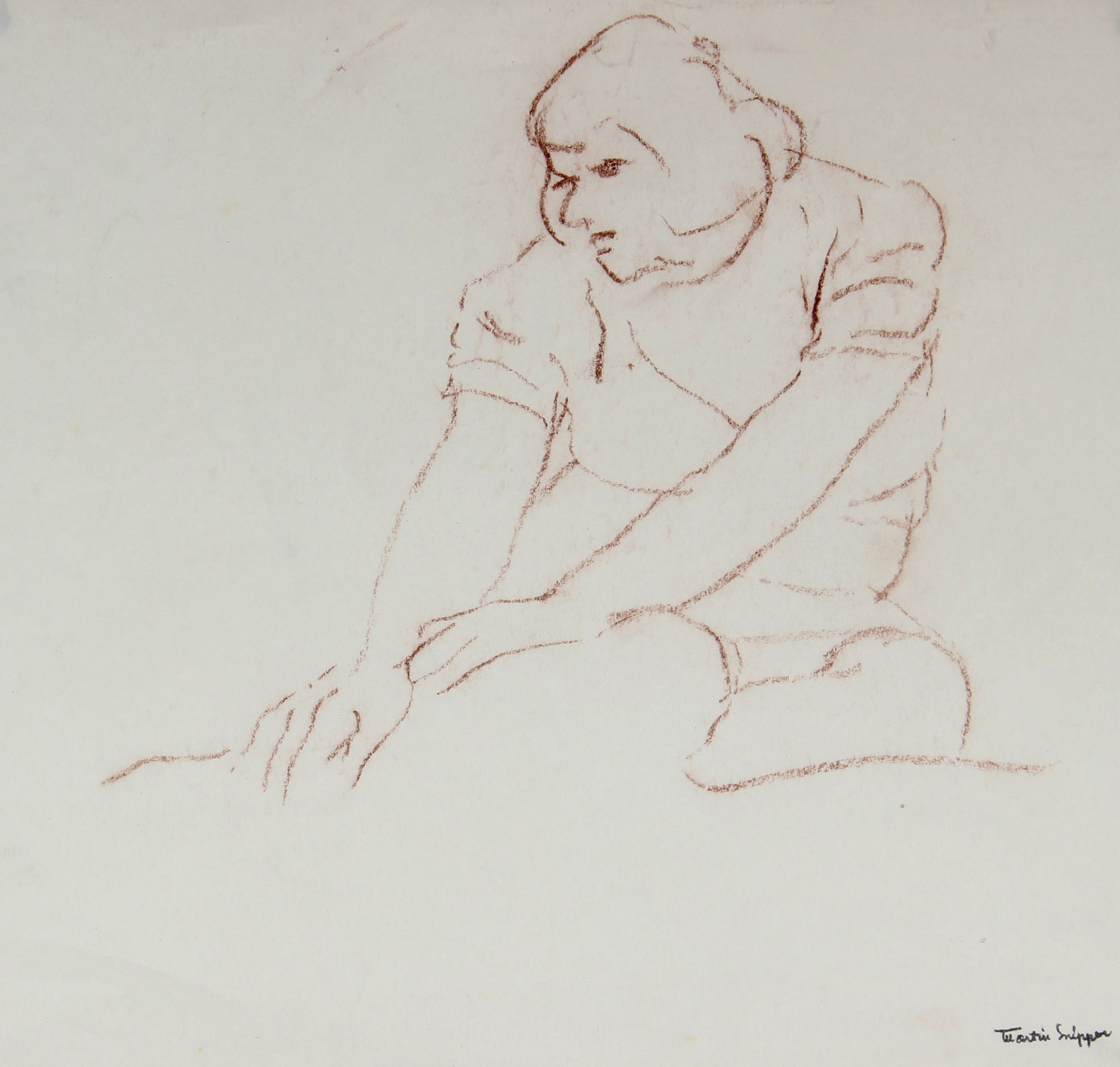 Charcoal Drawing of Seated Woman <br> Mid 20th Century <br><br>#49888